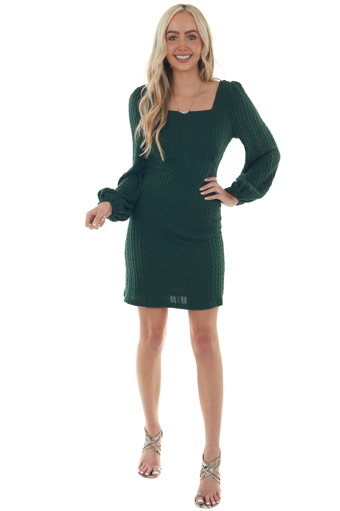 Forest Green Cable Knit Long Sleeve Dress