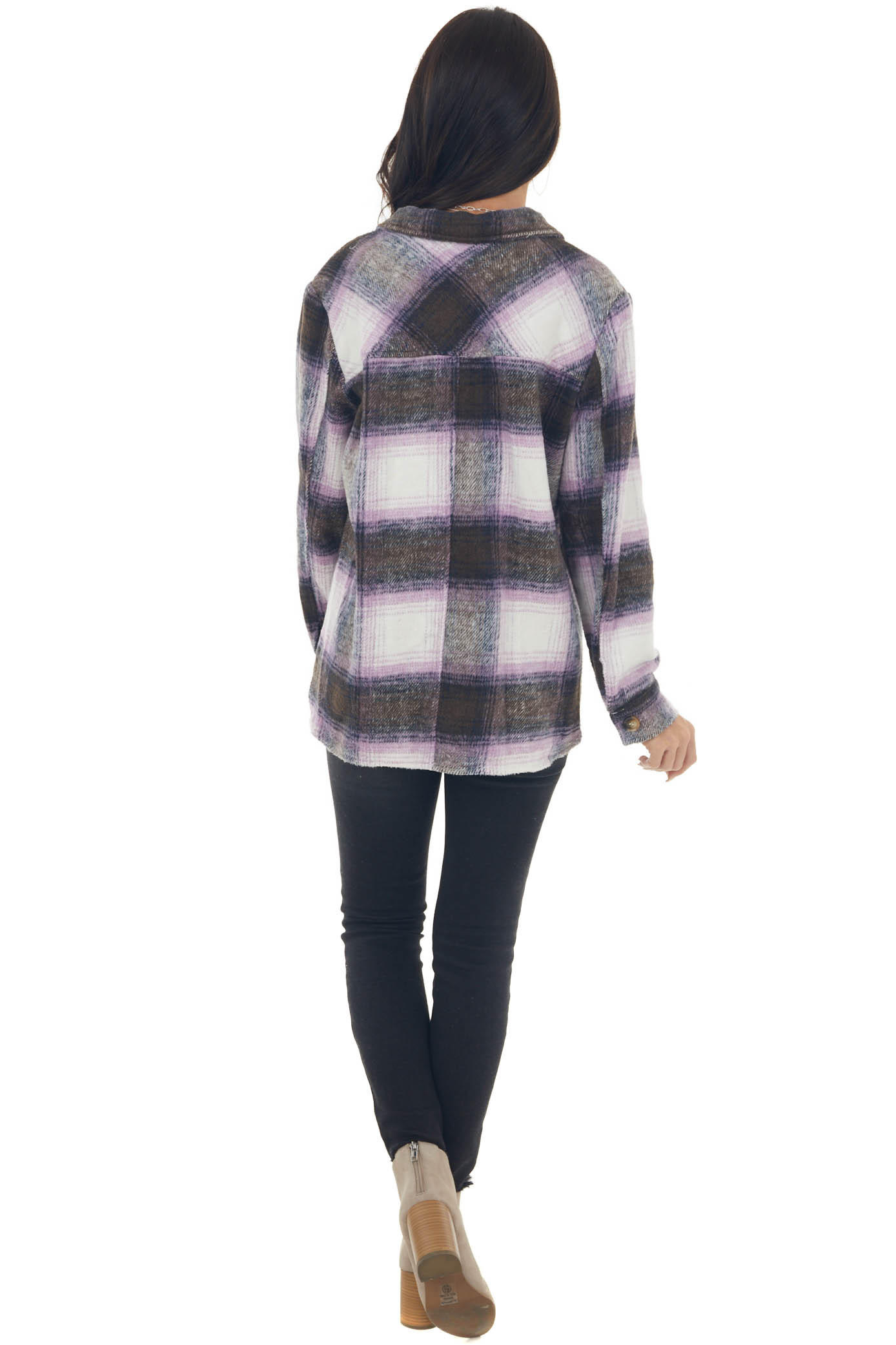 Orchid Plaid Button Down Brushed Shirt Jacket