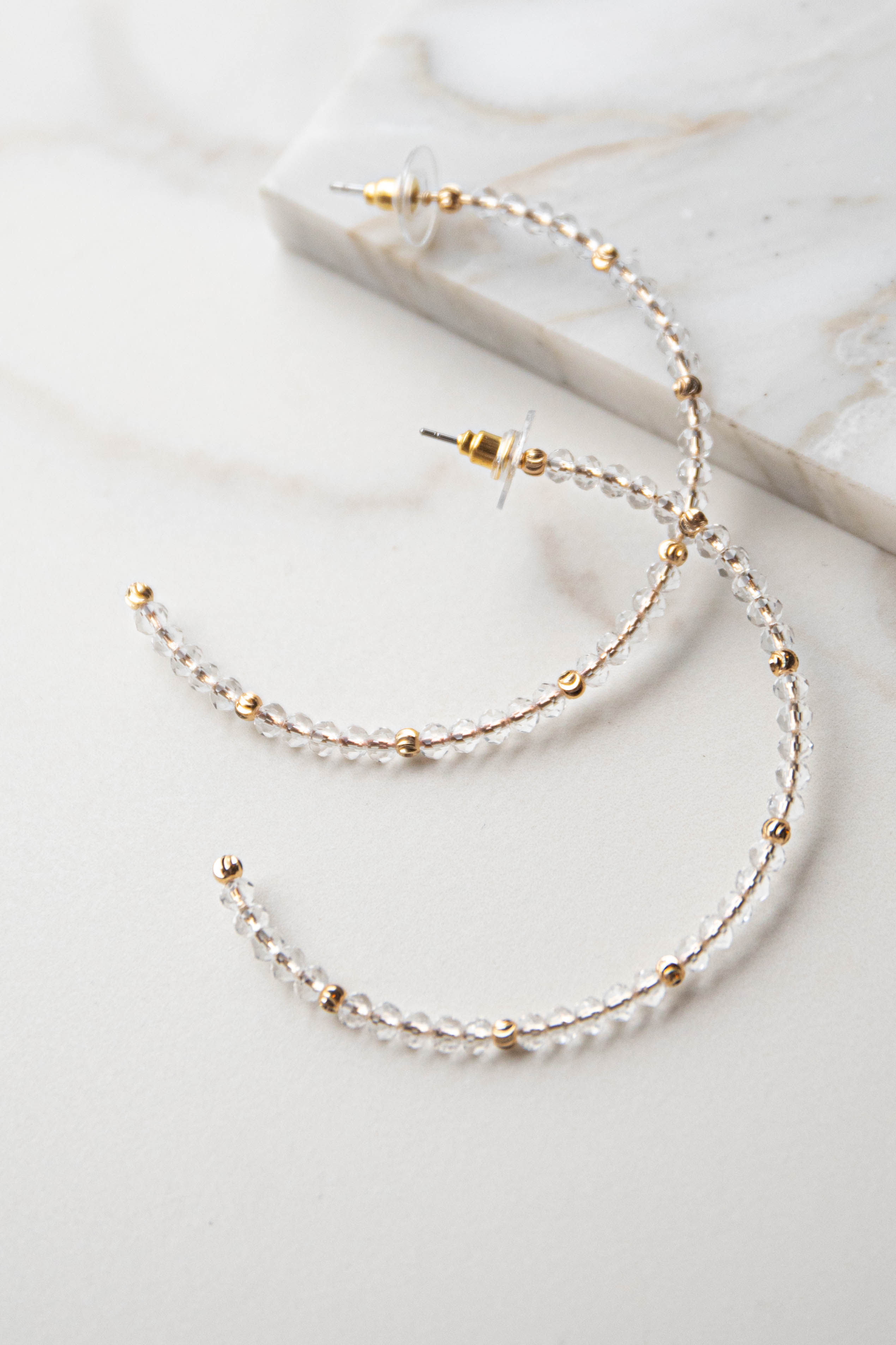 Gold and Clear Beaded Stud Back Hoop Earrings