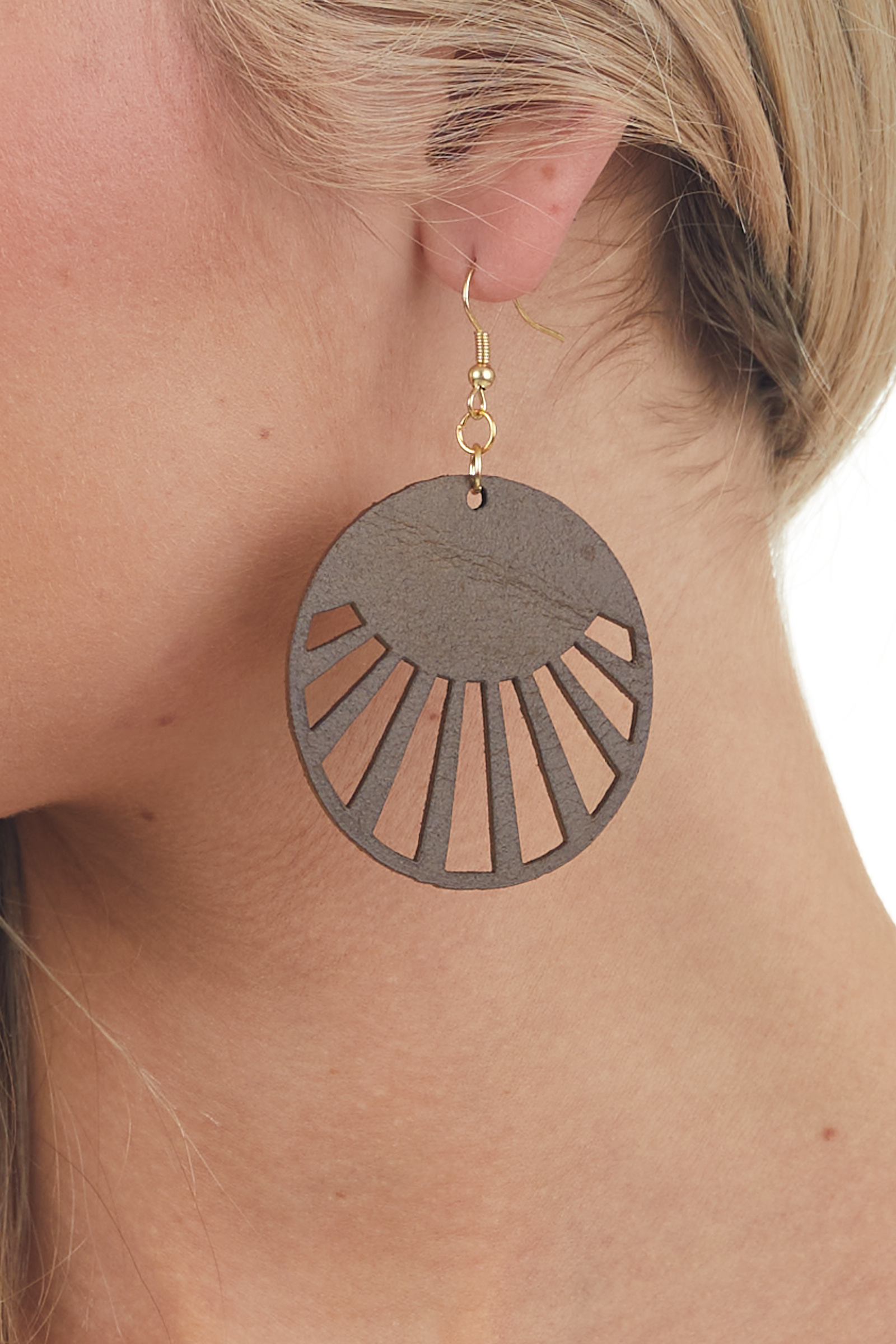 Sepia Faux Leather Circle Cut Out Earrings