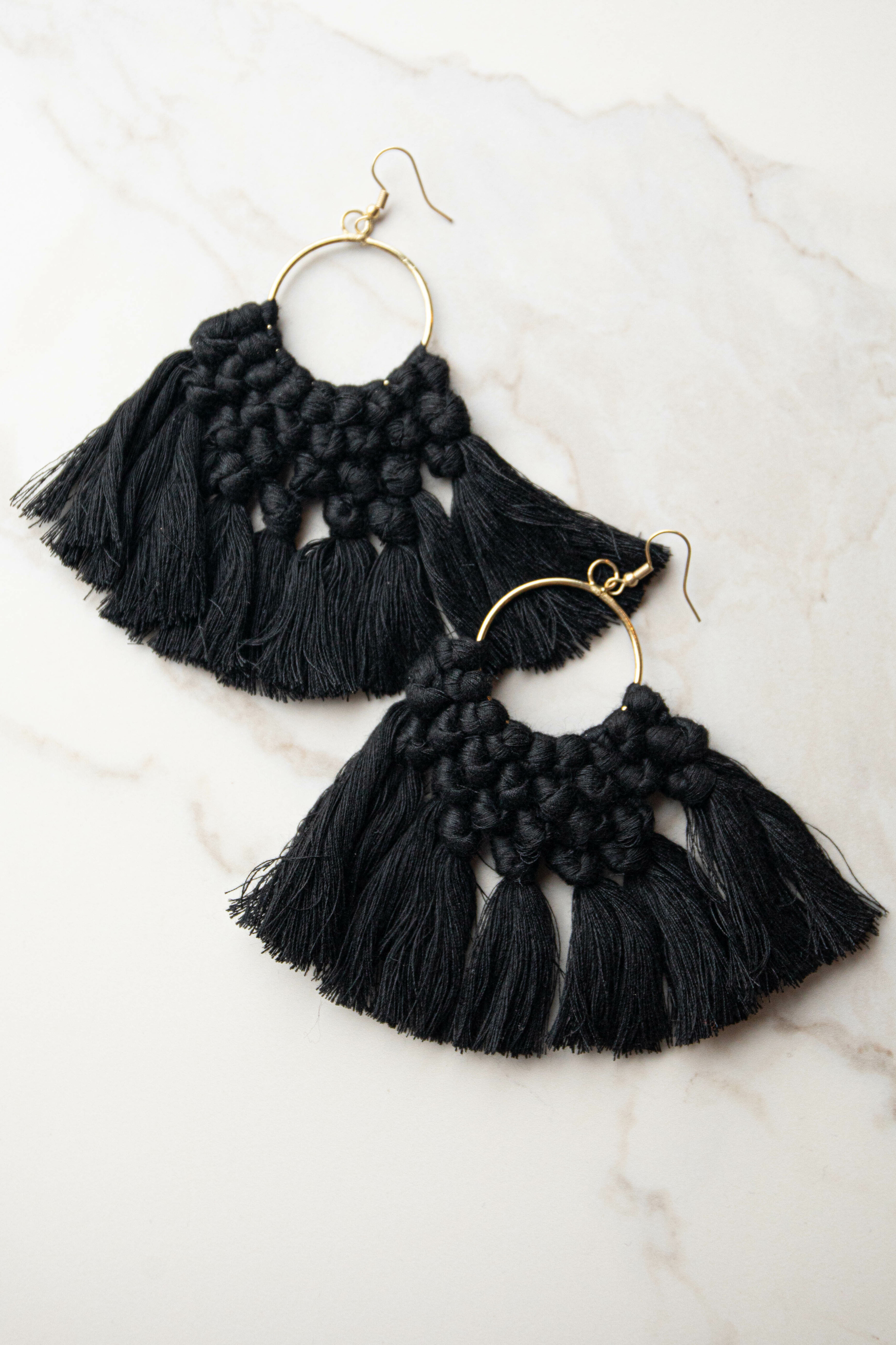 Gold Hoop Earrings with Black Tassels and Woven Details
