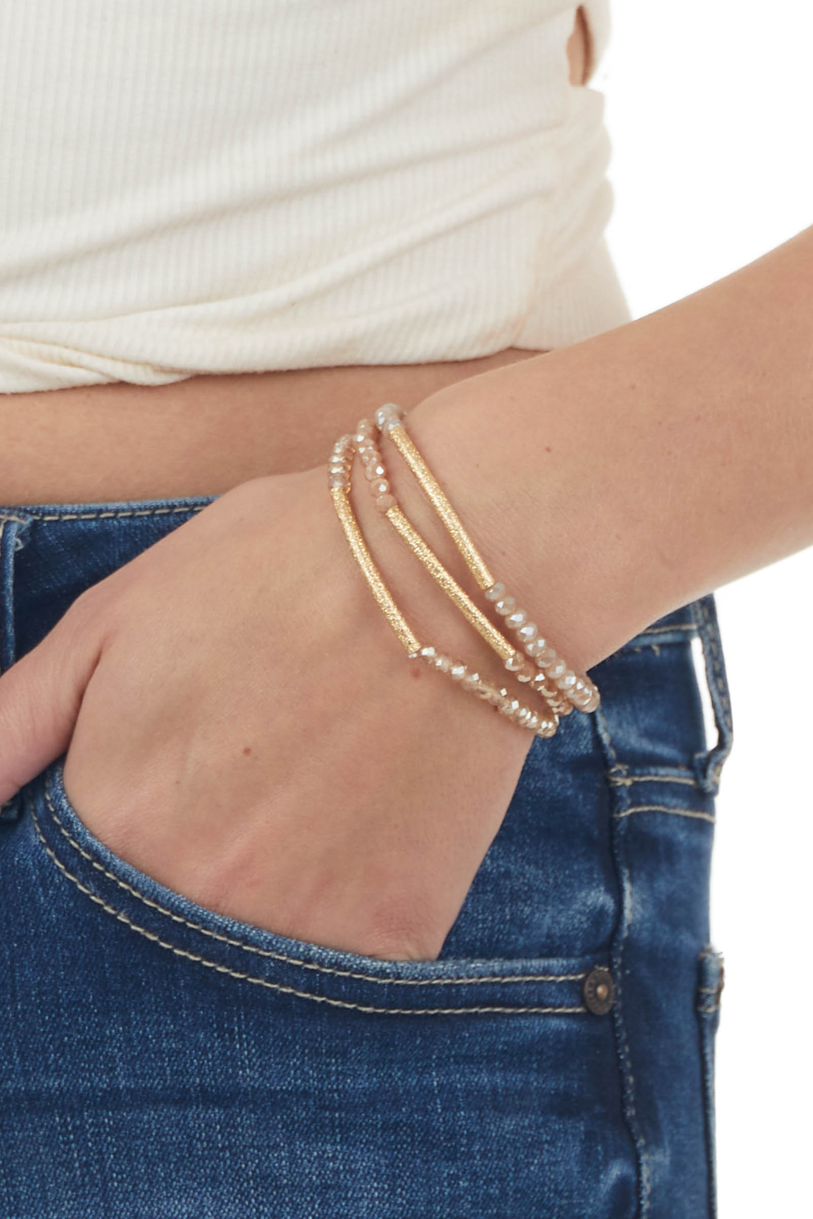 Rose Taupe Bead and Gold 3 Piece Bracelet Set