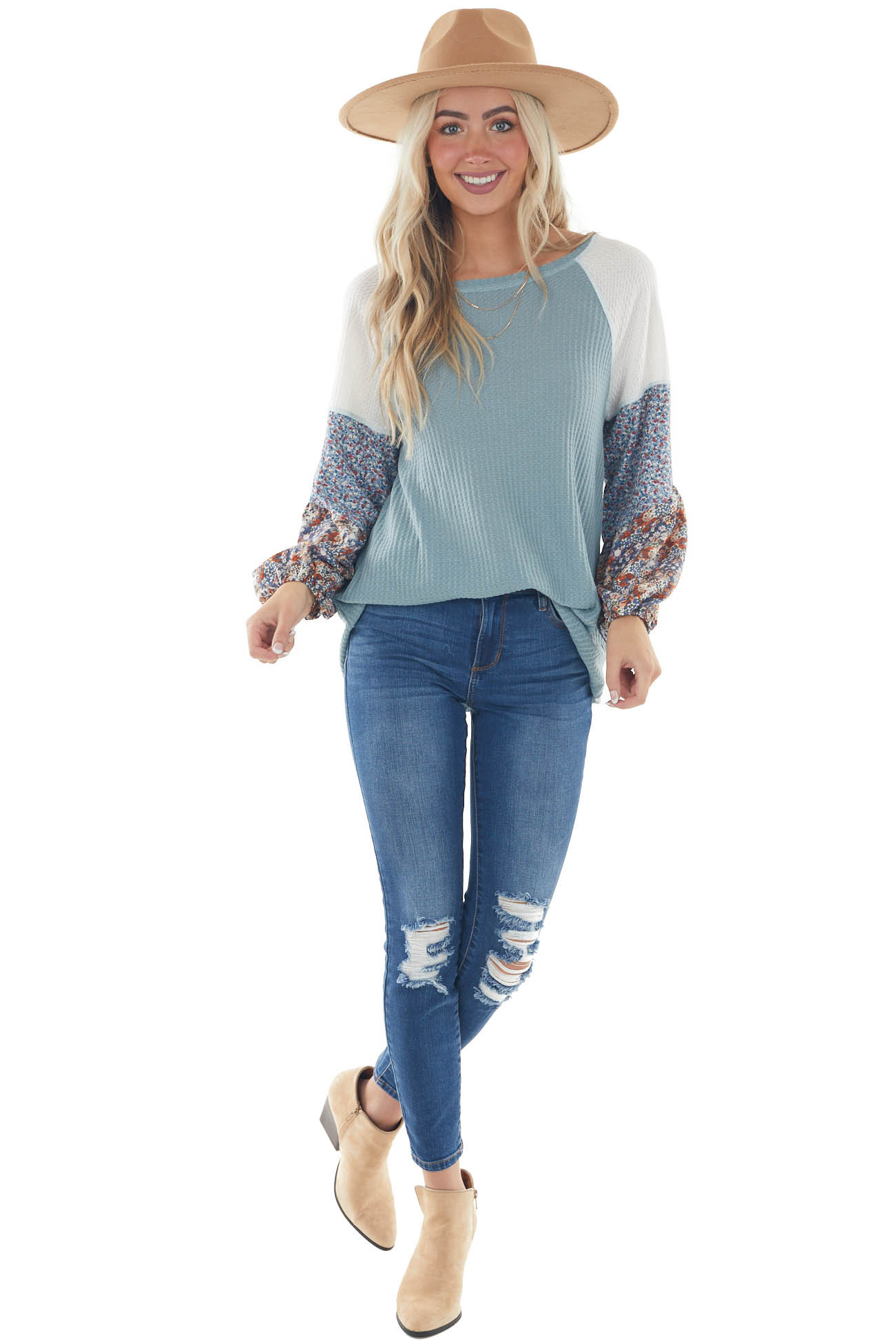Light Teal Waffle Knit Floral Puff Sleeve Top