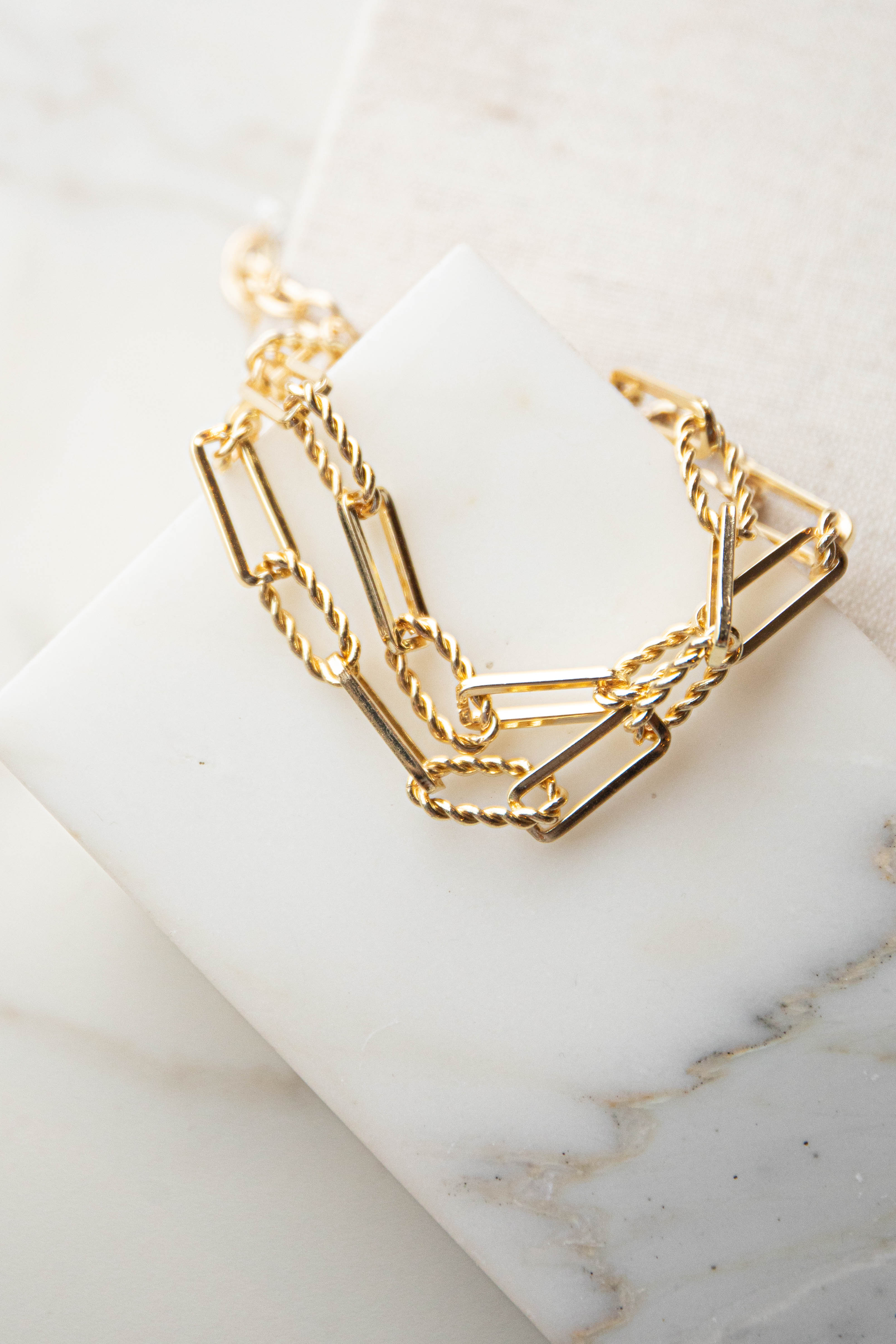 Gold Twisted Paperclip Chain Bracelet