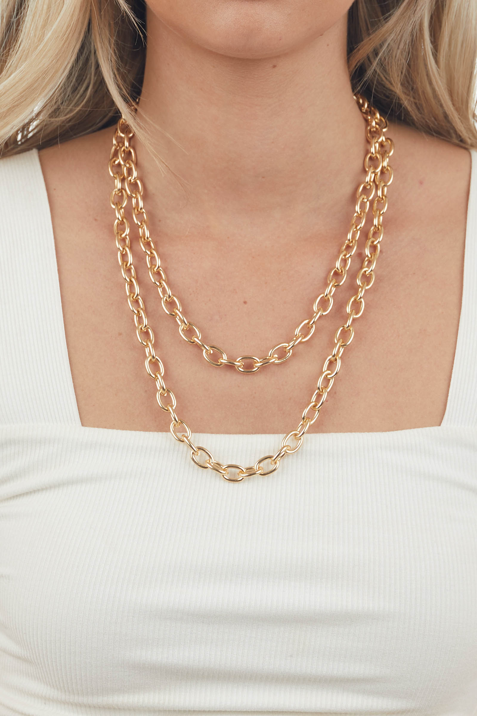 Gold Large Layered Cable Chain Necklace