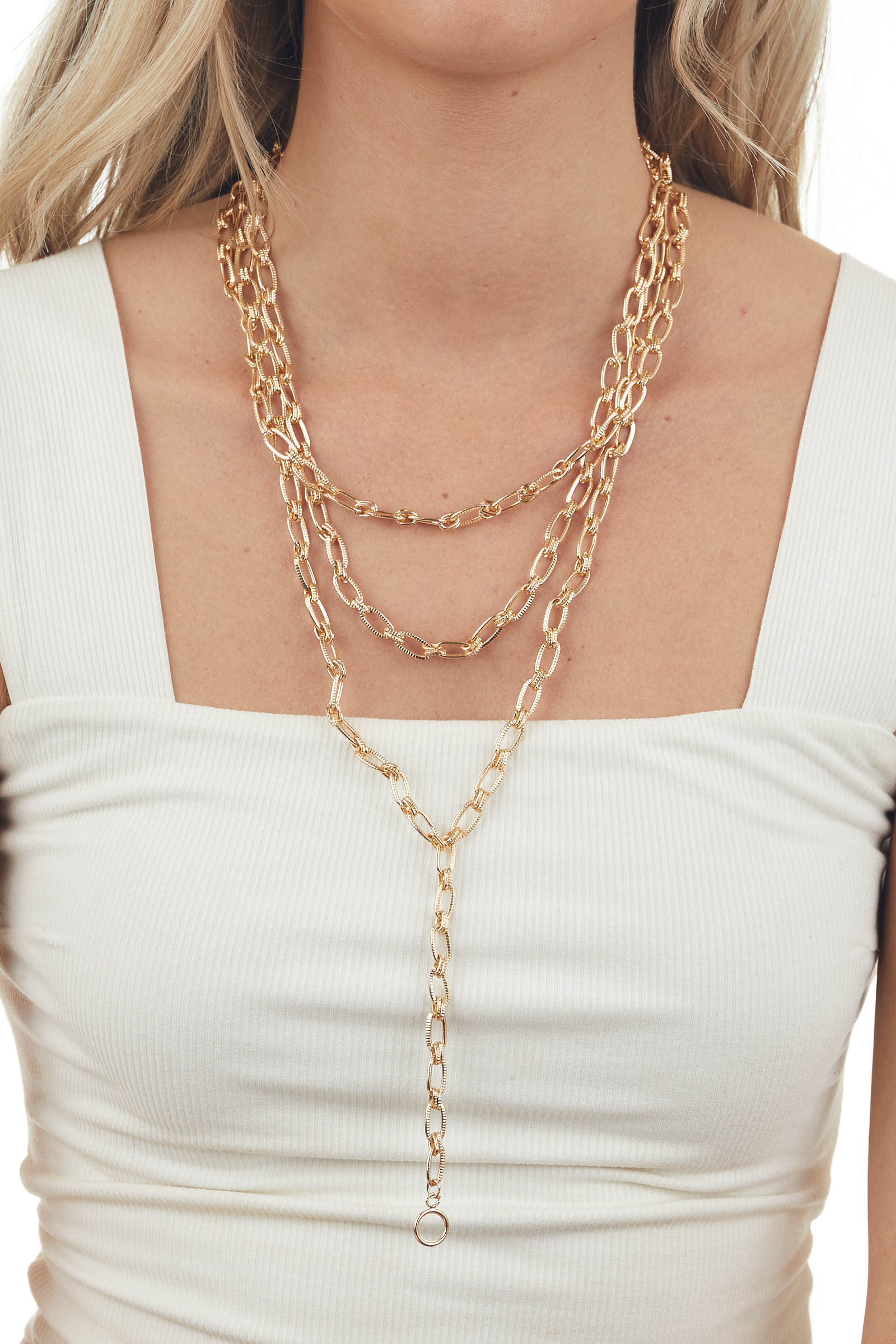 Gold Textured Cable Chain Layered Y Necklace