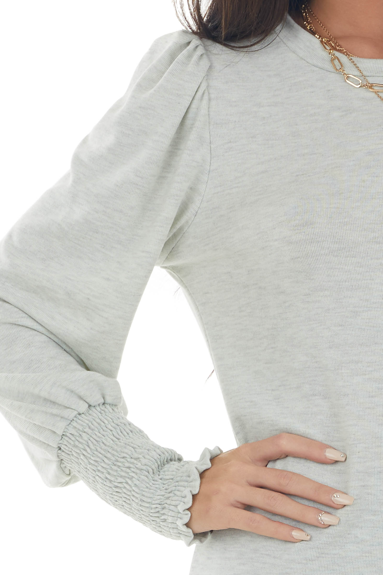 Dove Grey Long Sleeve Smocked Cuff Knit Top