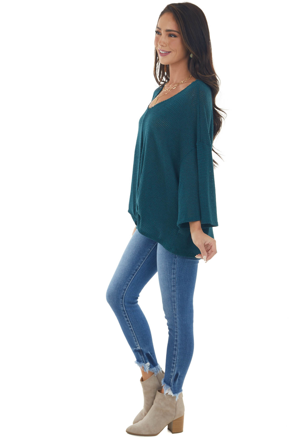 Teal Flowy Sleeve Waffle Knit Front Knot Top