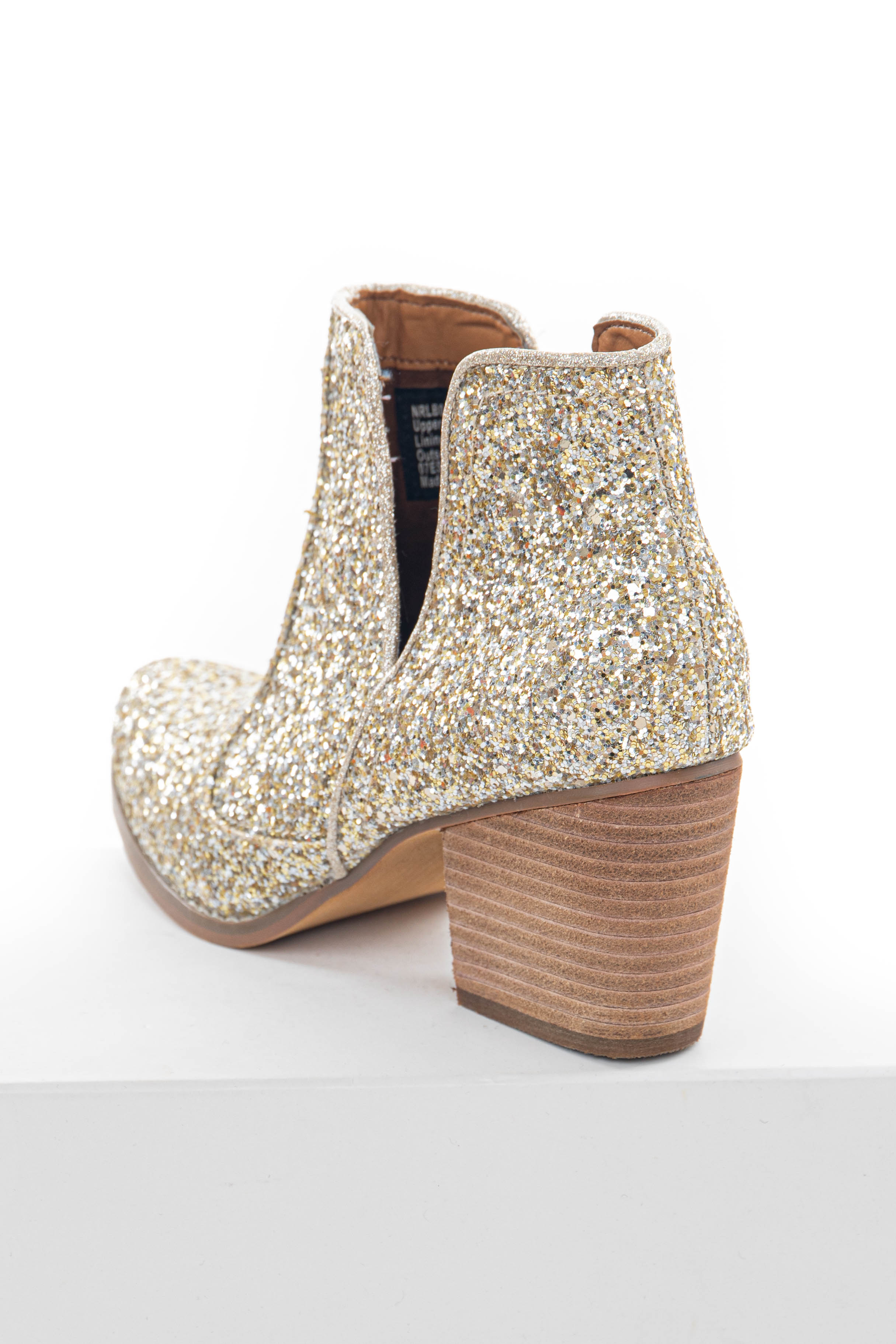 Gold and Silver Glitter Stacked Heel Booties