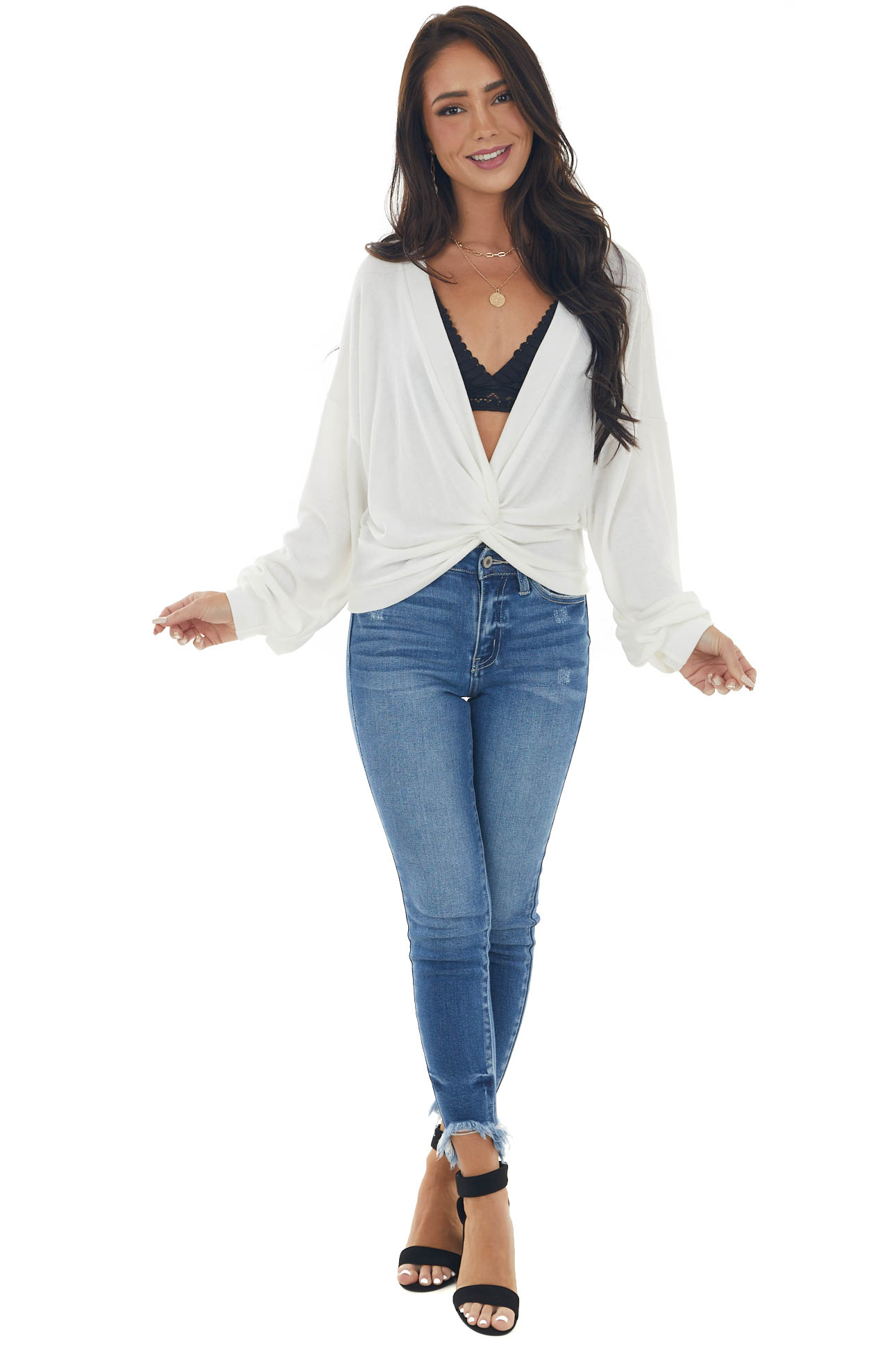 Ivory Deep V Neck Knit Top with Twist Detail