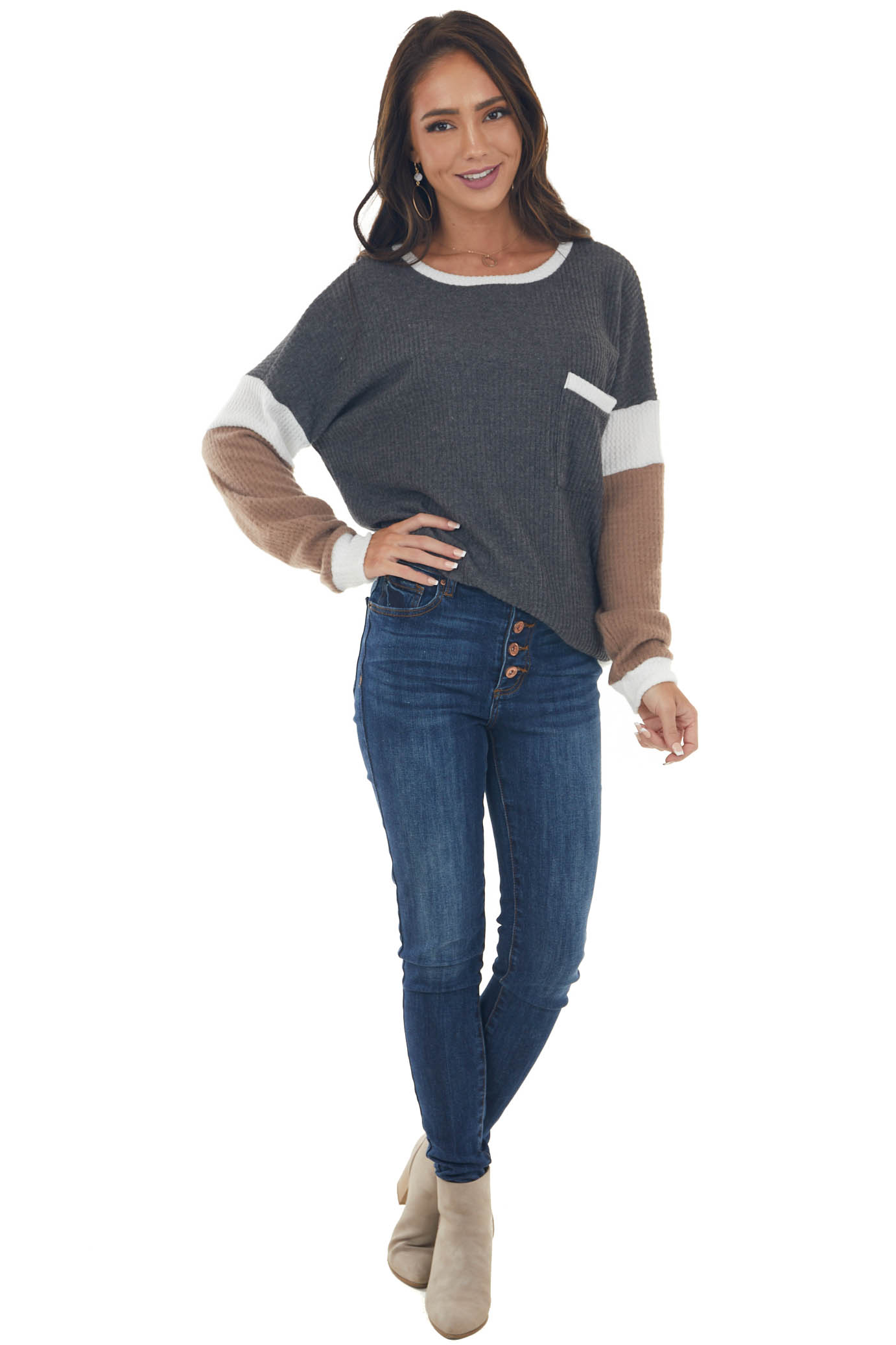 Charcoal Colorblock Soft Waffle Knit Top
