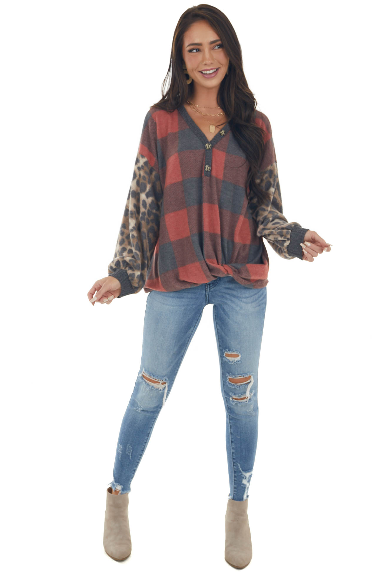 Leopard and Plaid Soft Knit Top with Buttons