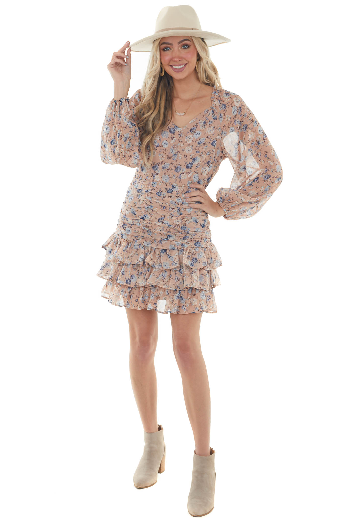 Faded Rose Floral Bubble Sleeve Ruffle Dress
