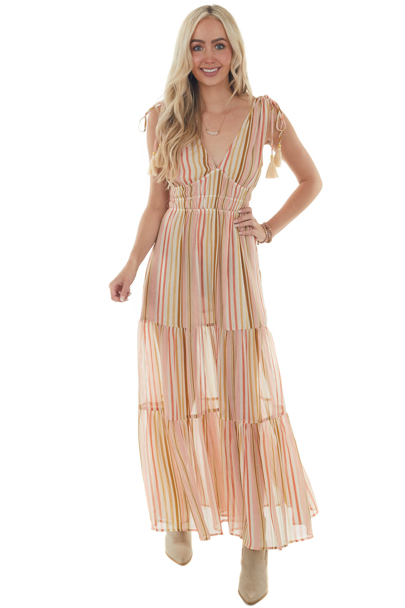 Ivory Multicolor Striped Tiered Maxi Dress