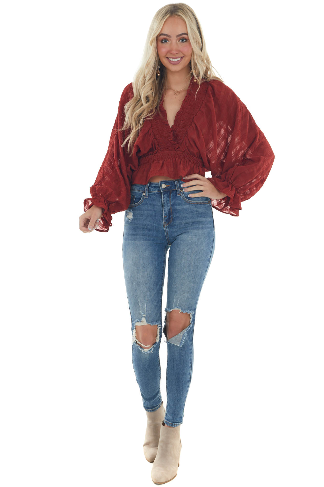 Brick Red Plunging Neck Puff Sleeve Blouse