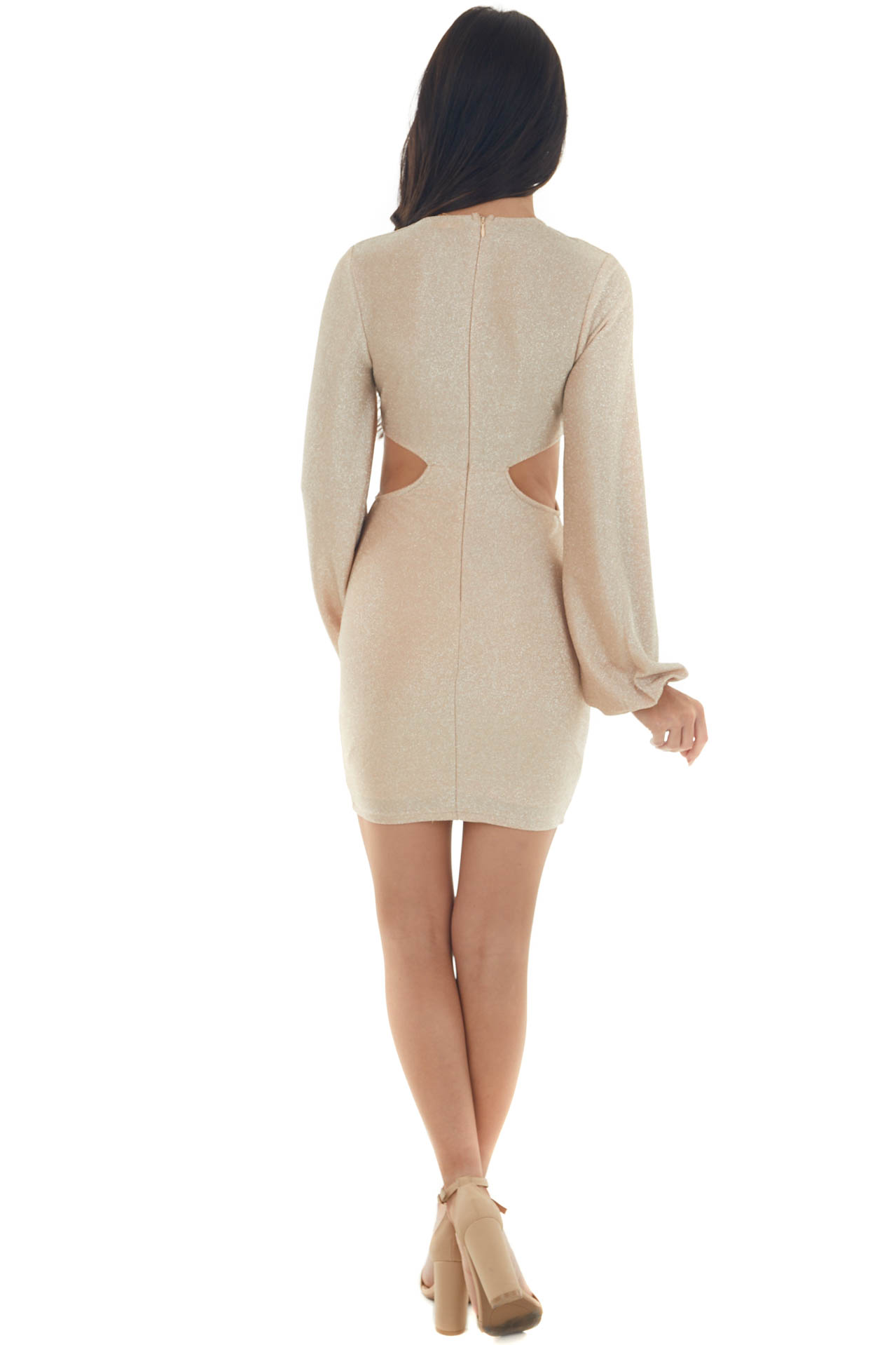Champagne Shimmer Cut Out Waist Bodycon Dress