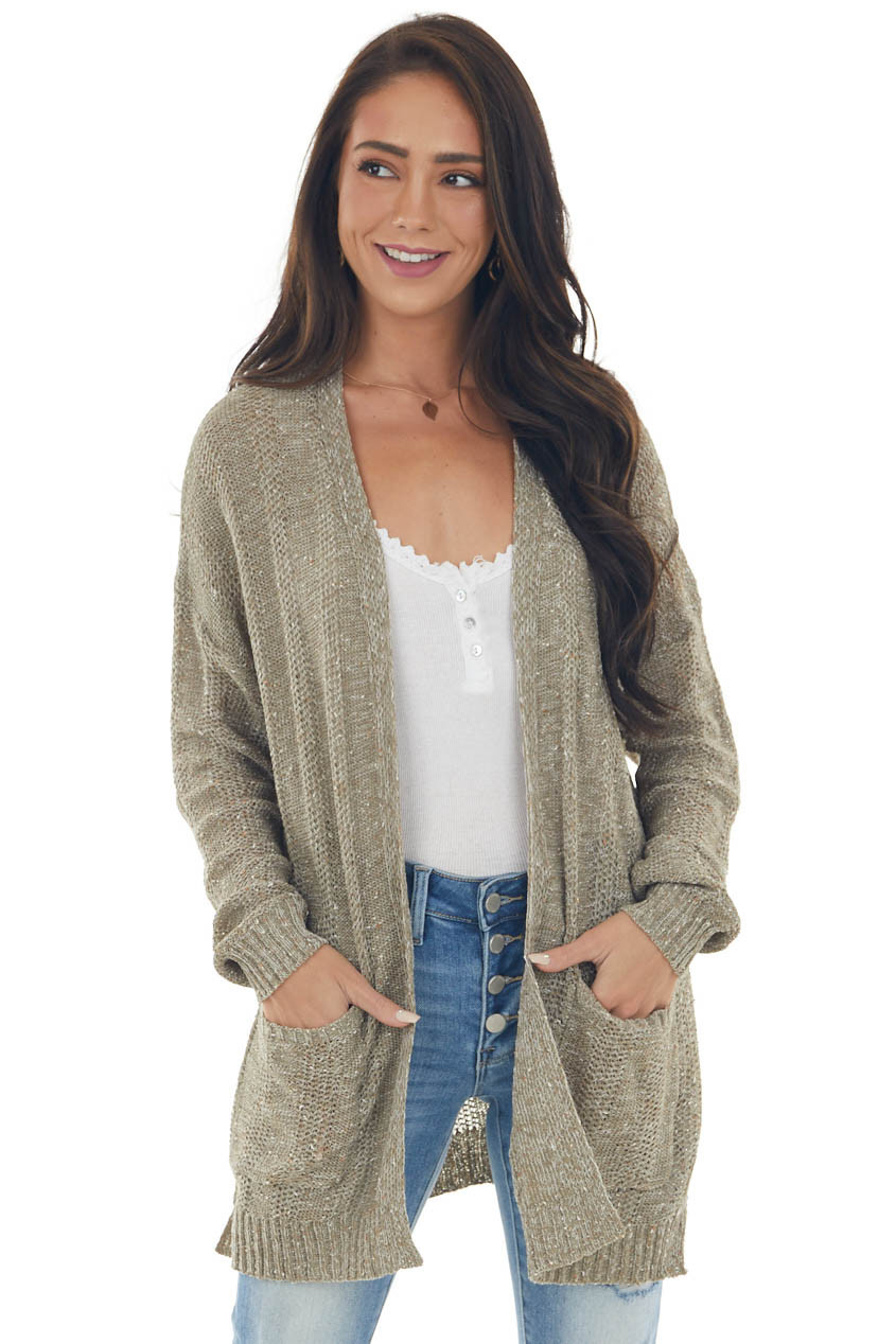 Faded Olive Two Tone Loose Knit Cardigan