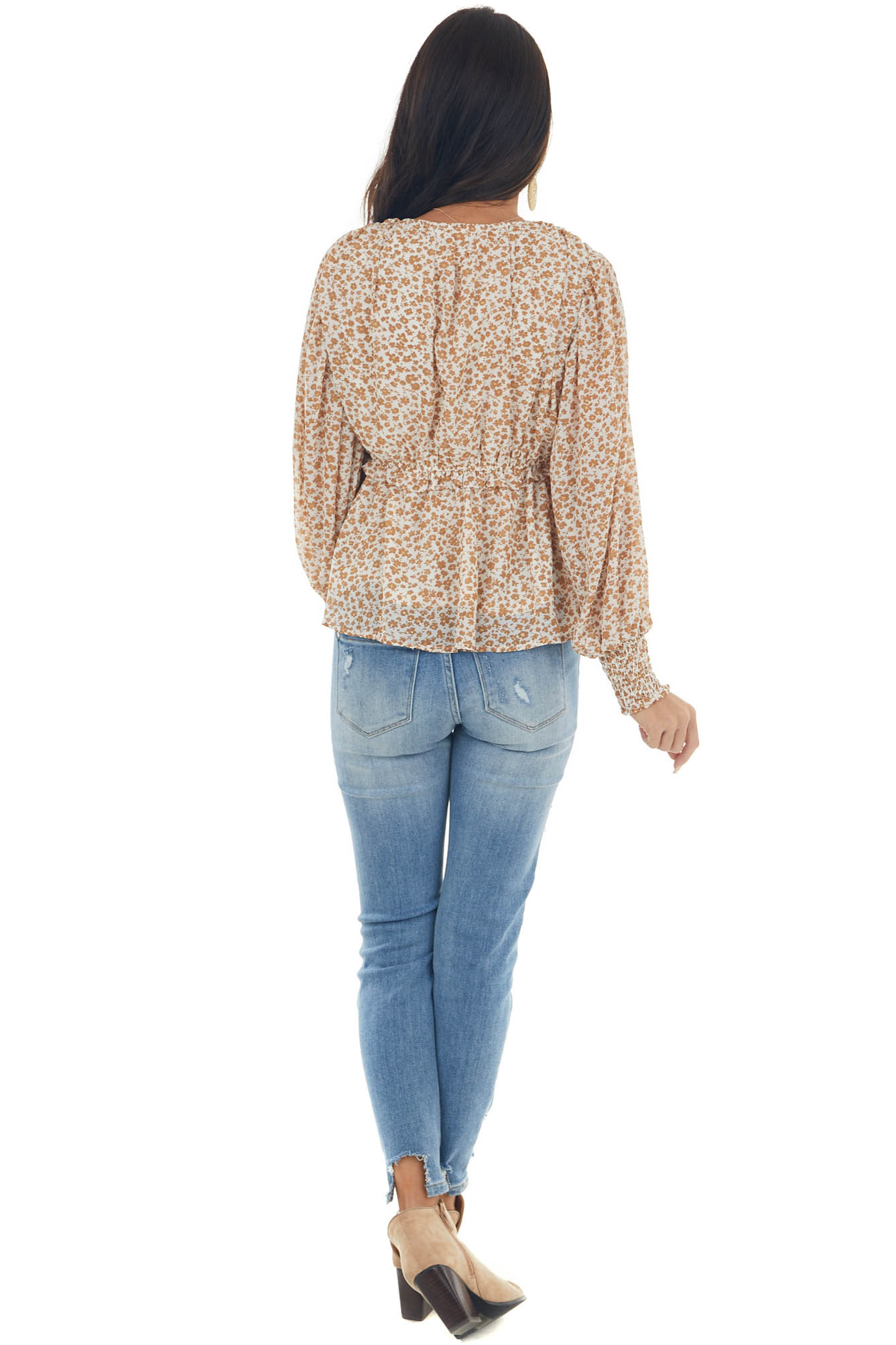 Brown Sugar and Gold Glitter Ditsy Floral Top
