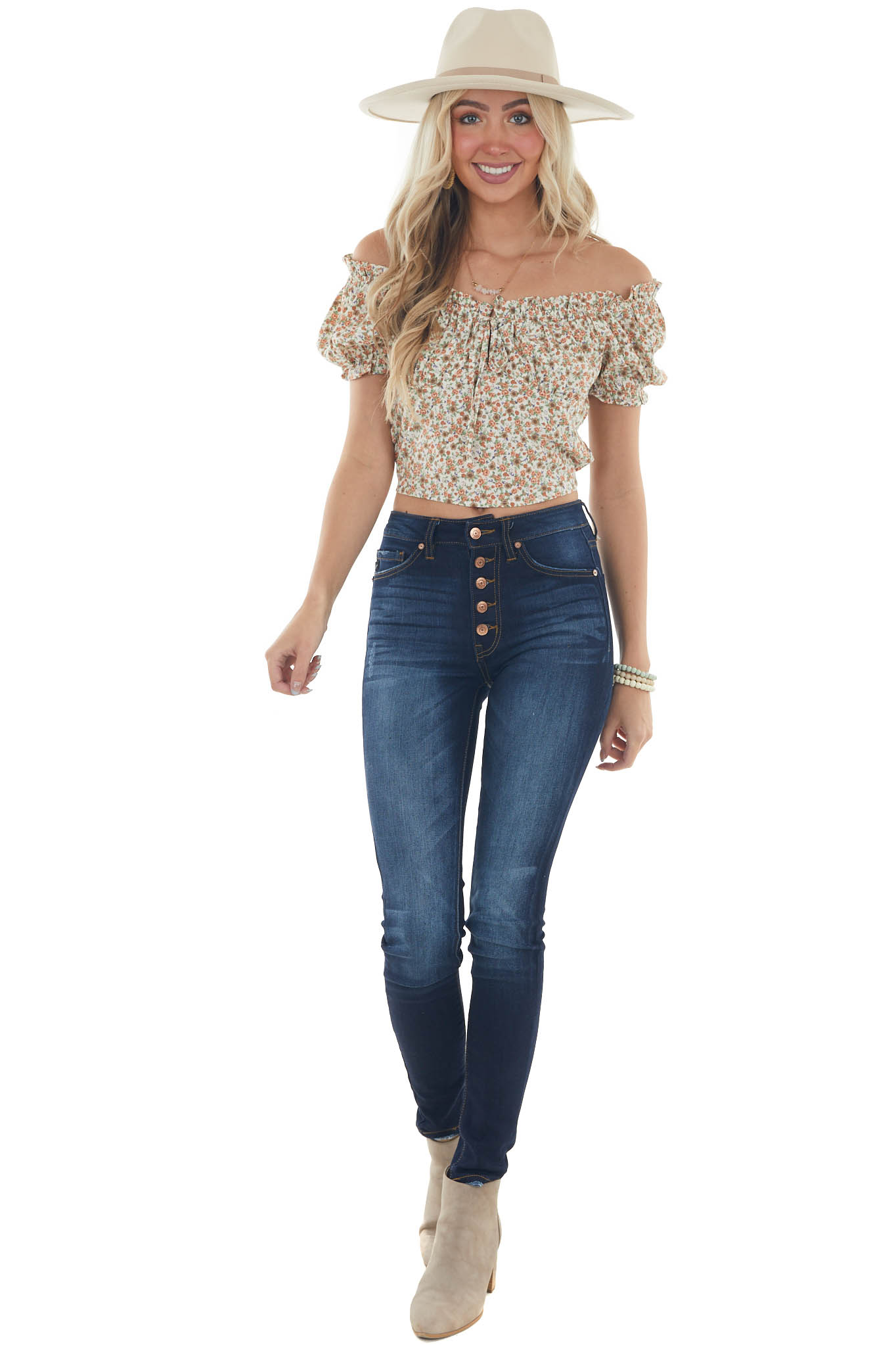 Ginger Ditsy Floral Short Puff Sleeve Crop Top