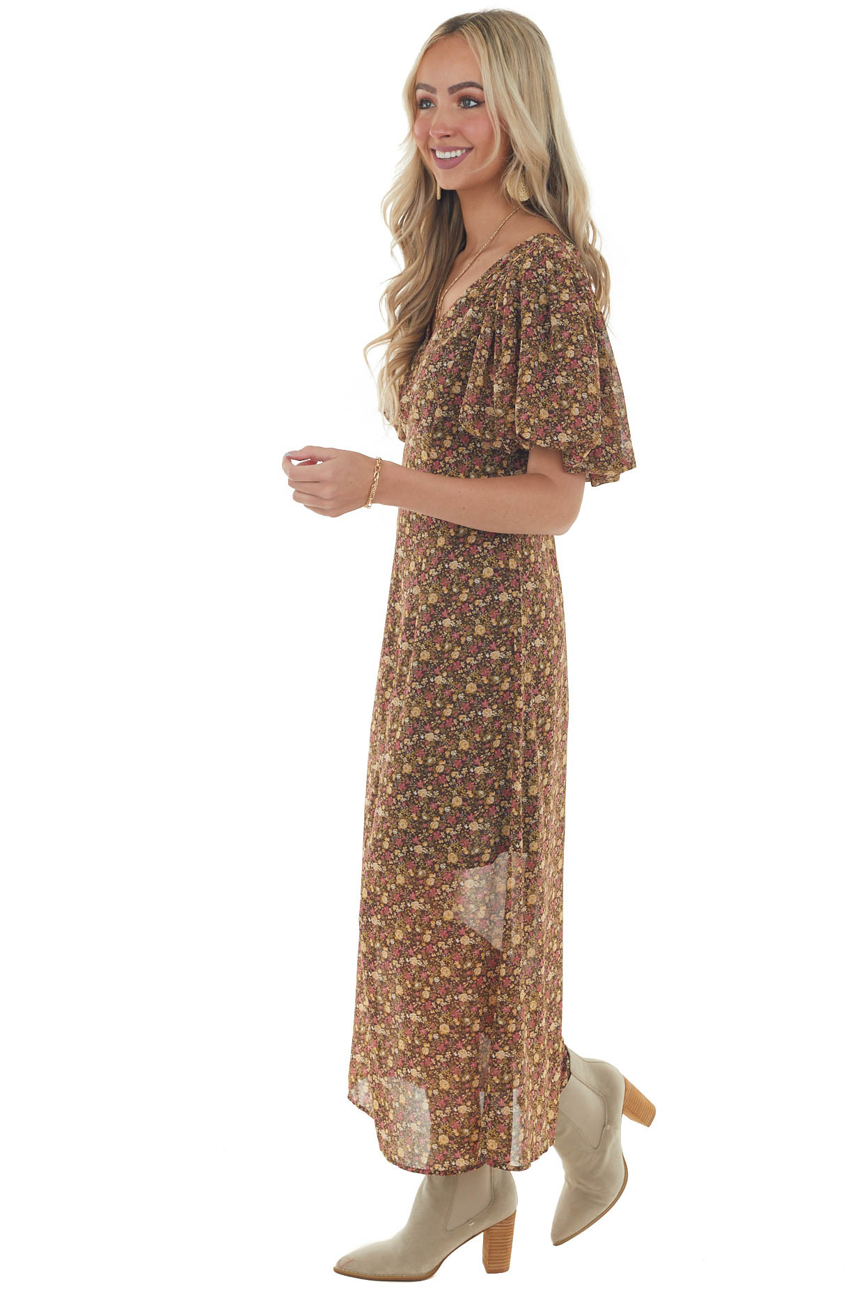 Chocolate Ditsy Floral Short Sleeve Maxi Dress
