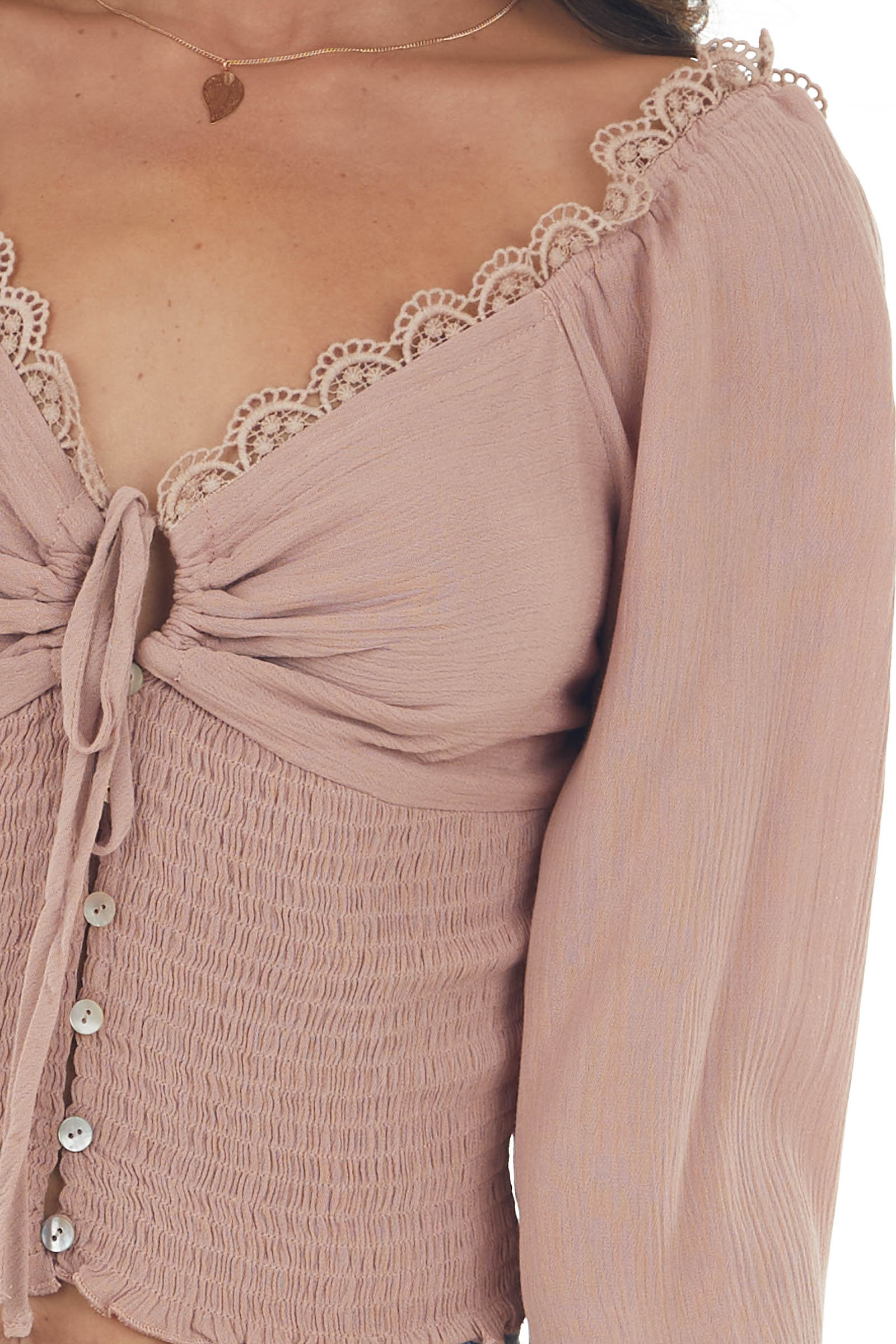 Vintage Rose Long Sleeve Smocked Crop Top with Lace Detail