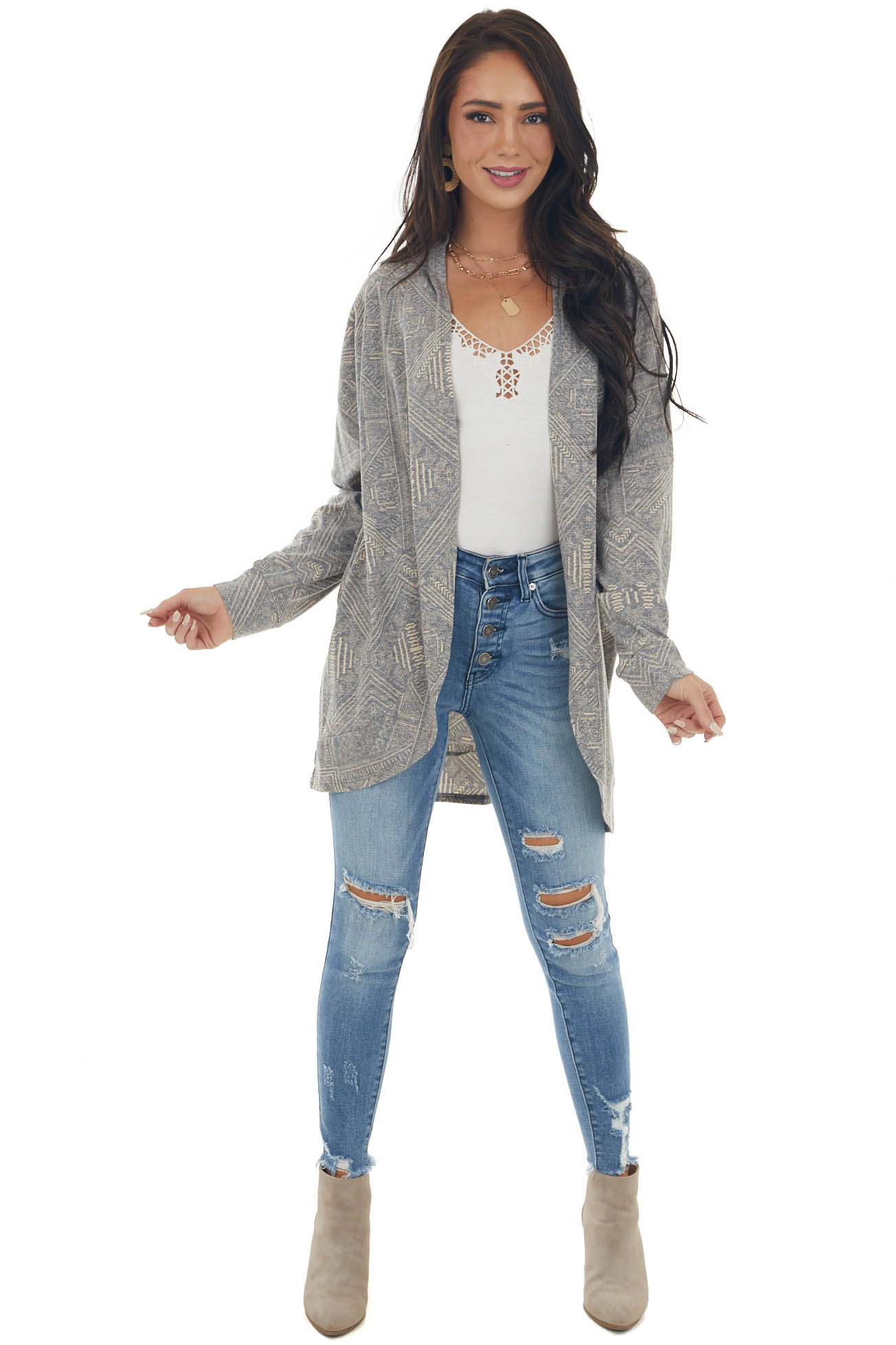 Stone and Peach Abstract Print Knit Cardigan