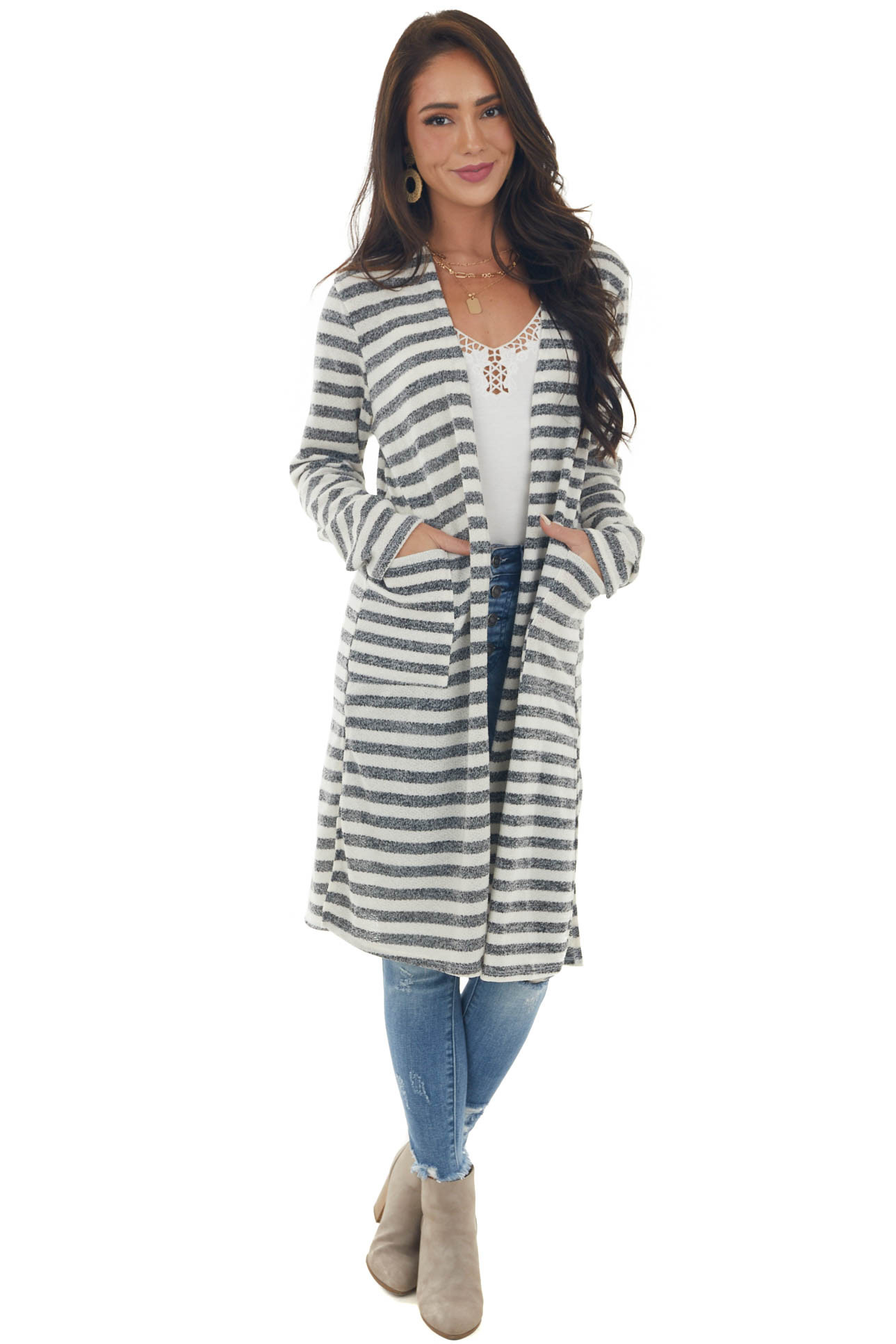 Cream and Charcoal Striped Print Long Cardigan
