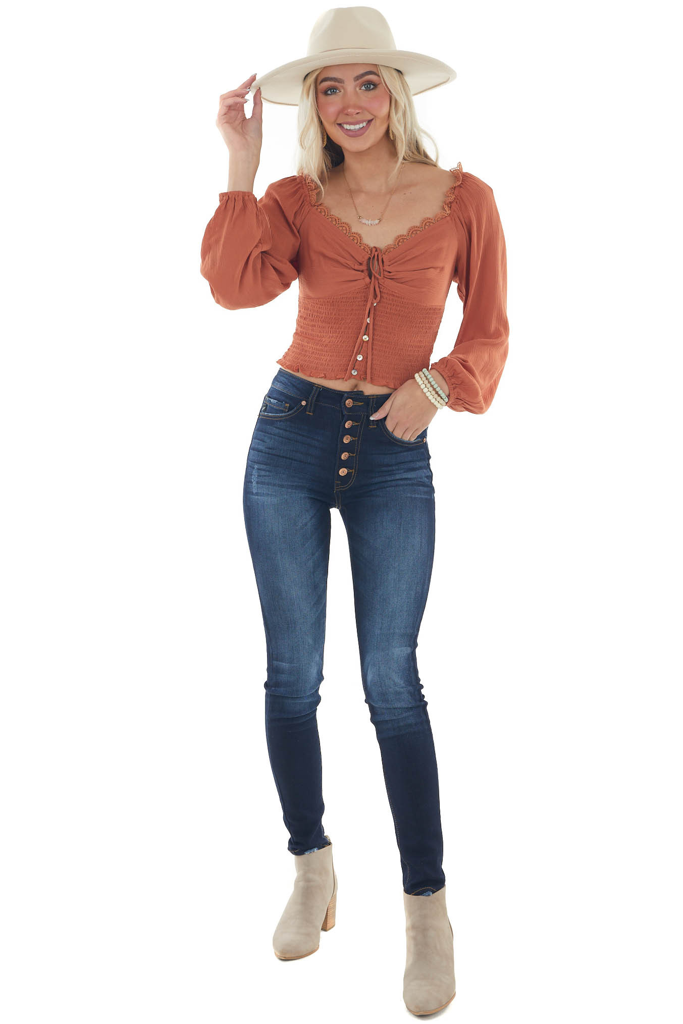 Tawny Long Sleeve Smocked Crop Top with Lace Detail
