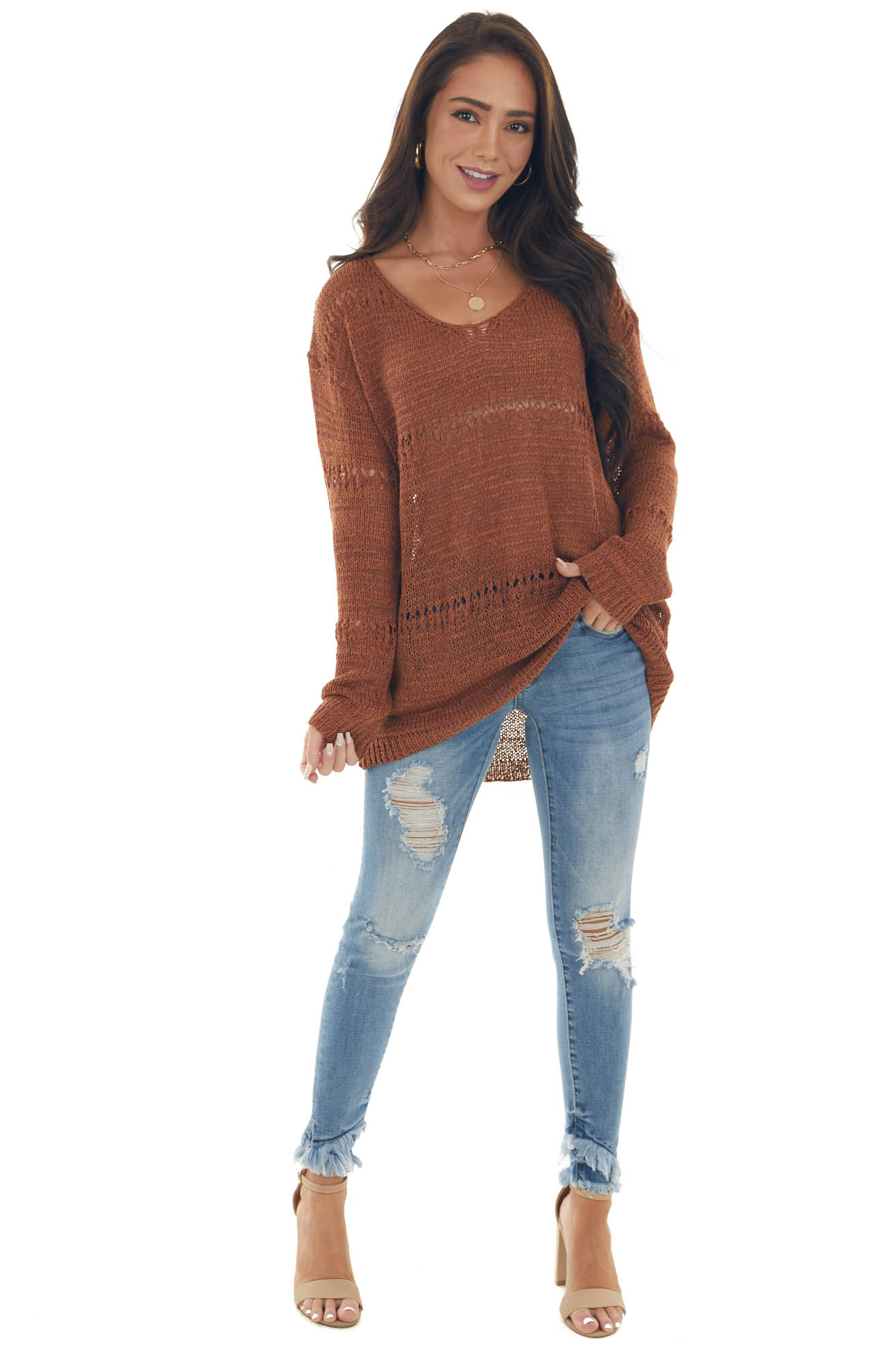Spice Long Sleeve Boat Neck Pointelle Sweater