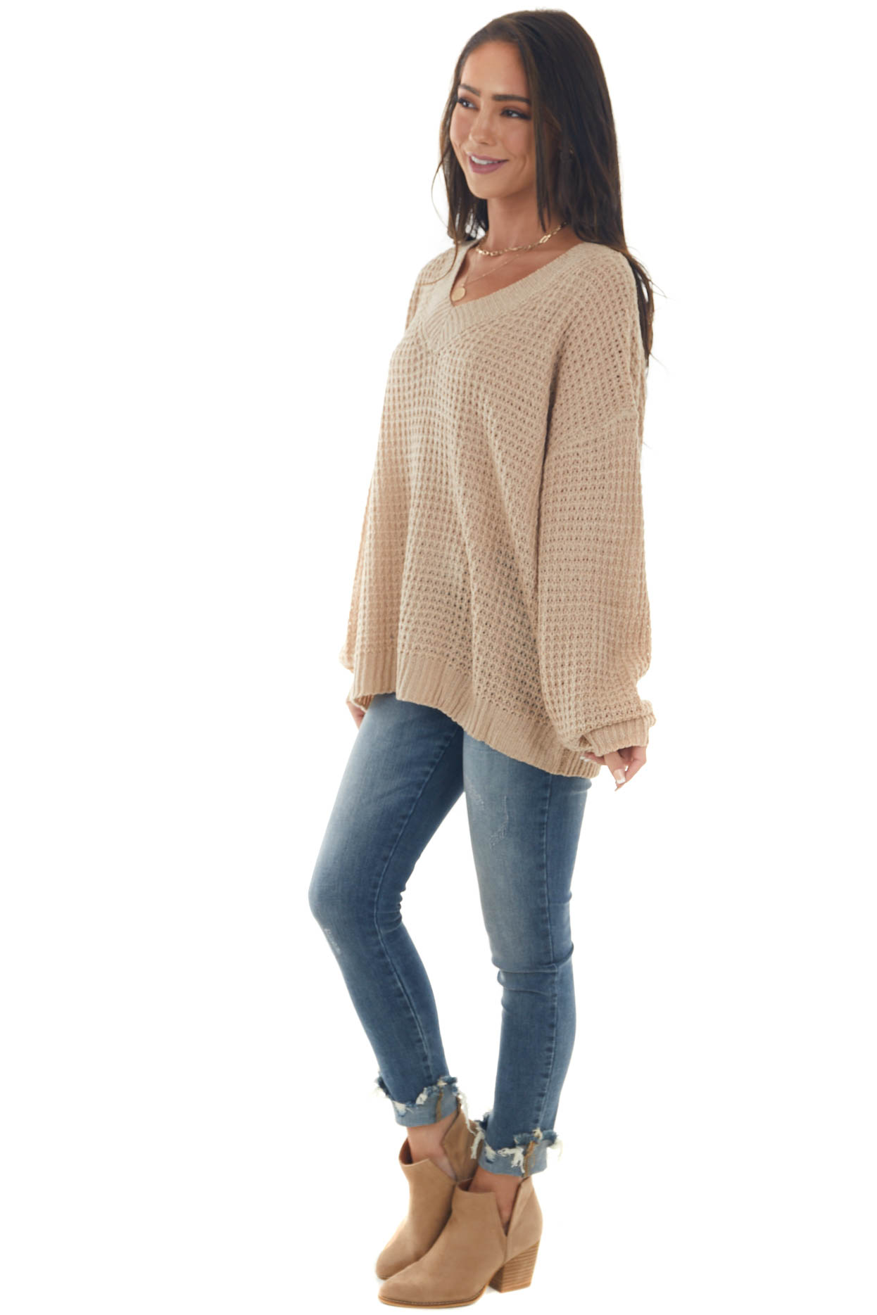 Camel Ribbed Trim Loose Knit Sweater