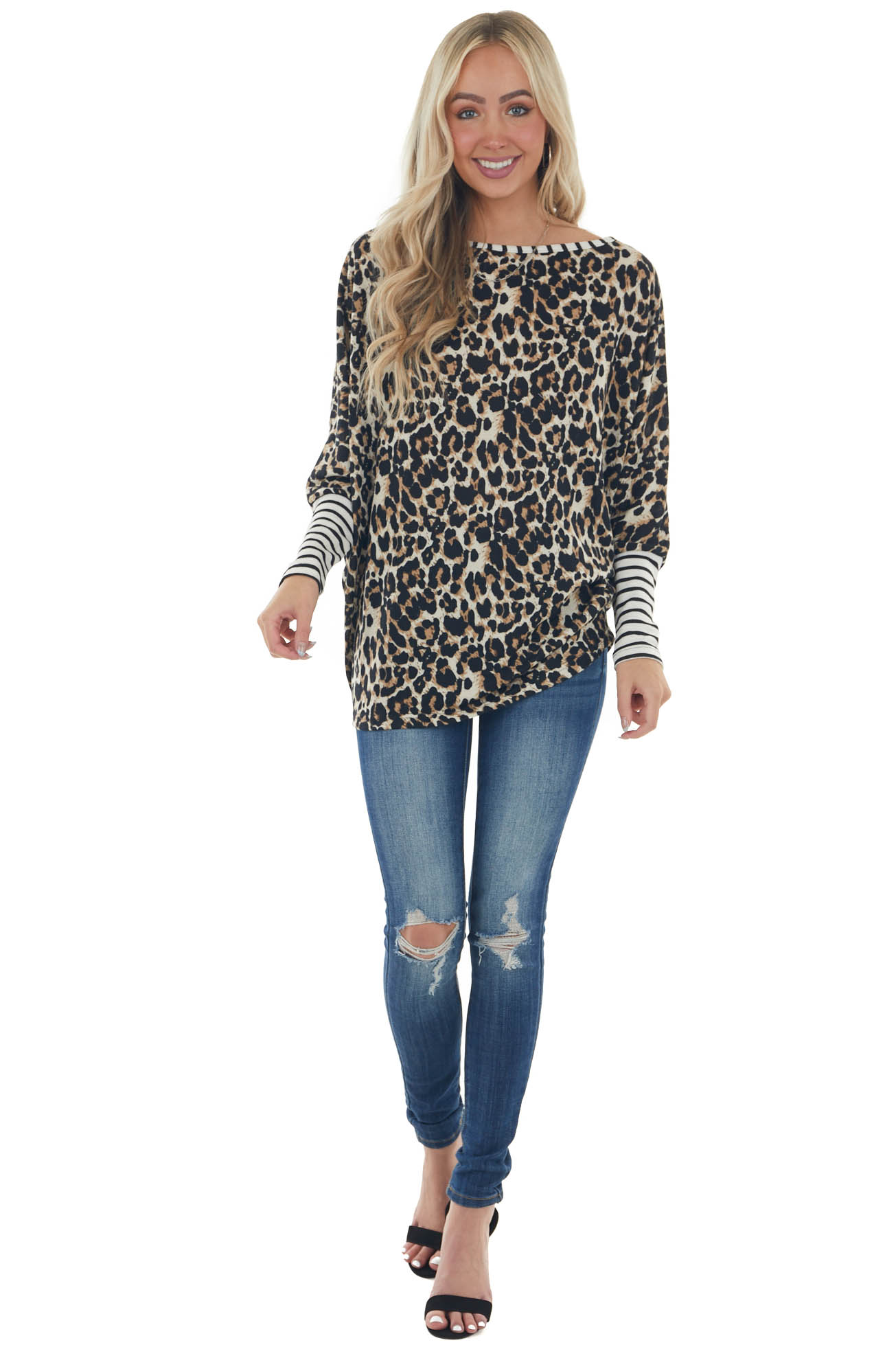 Ivory Leopard Print with Stripe Contrast Top