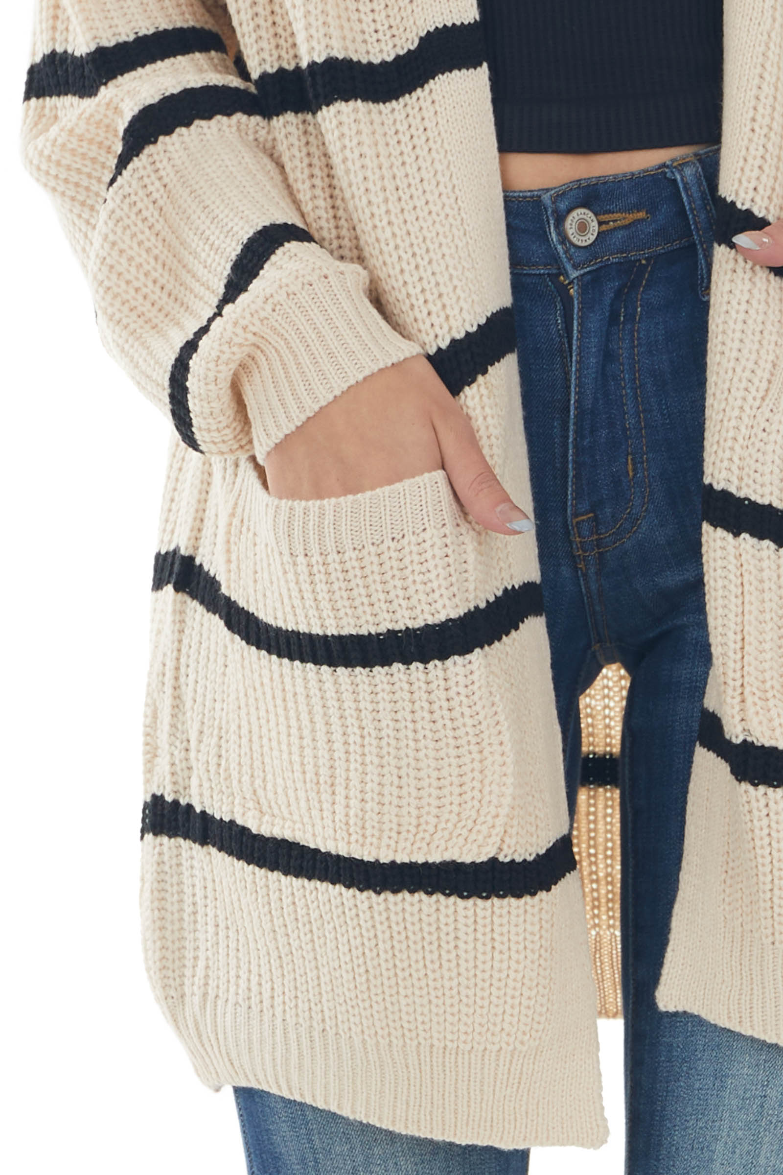 Cream and Black Stripped Loose Knit Cardigan