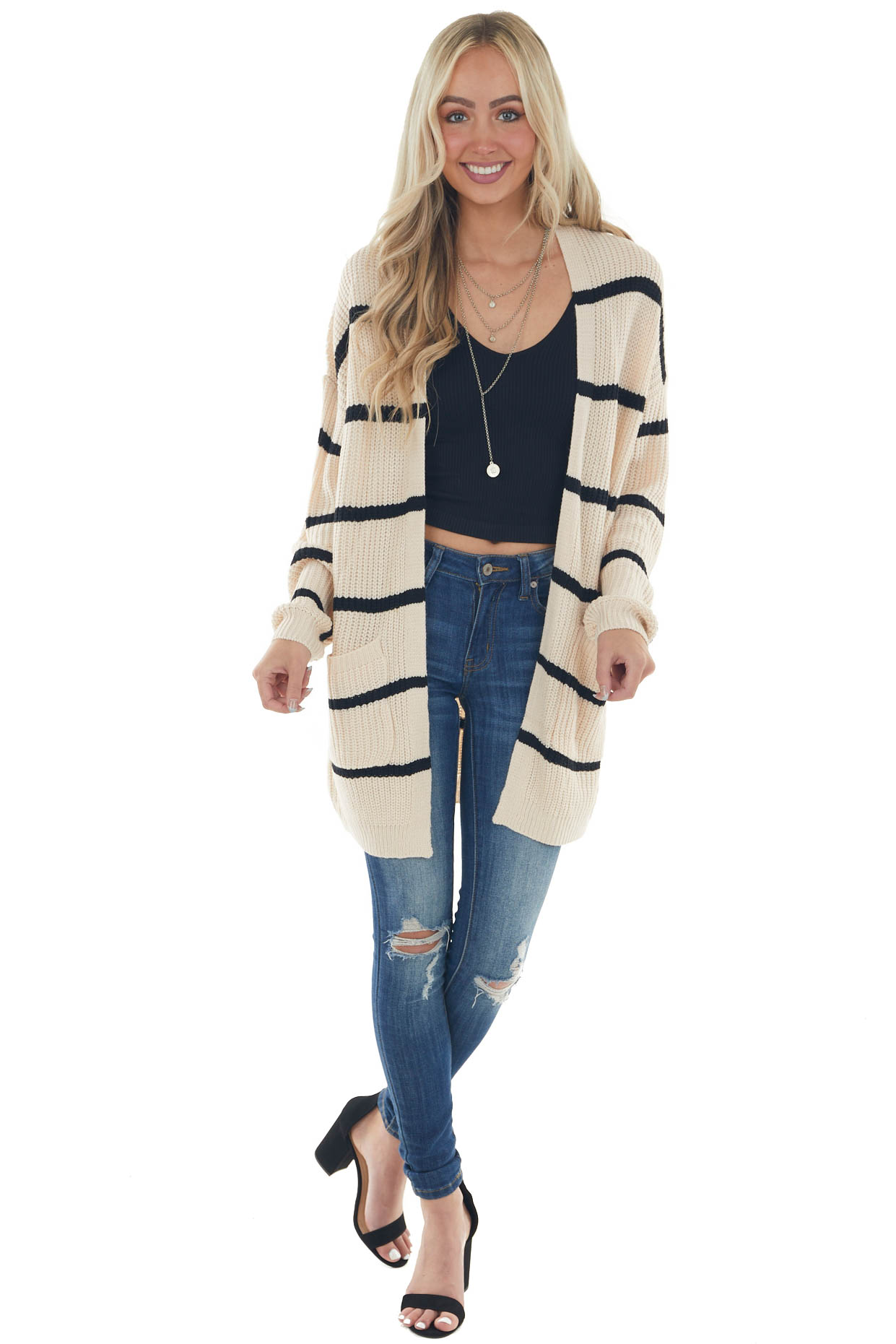 Cream and Black Striped Loose Knit Cardigan