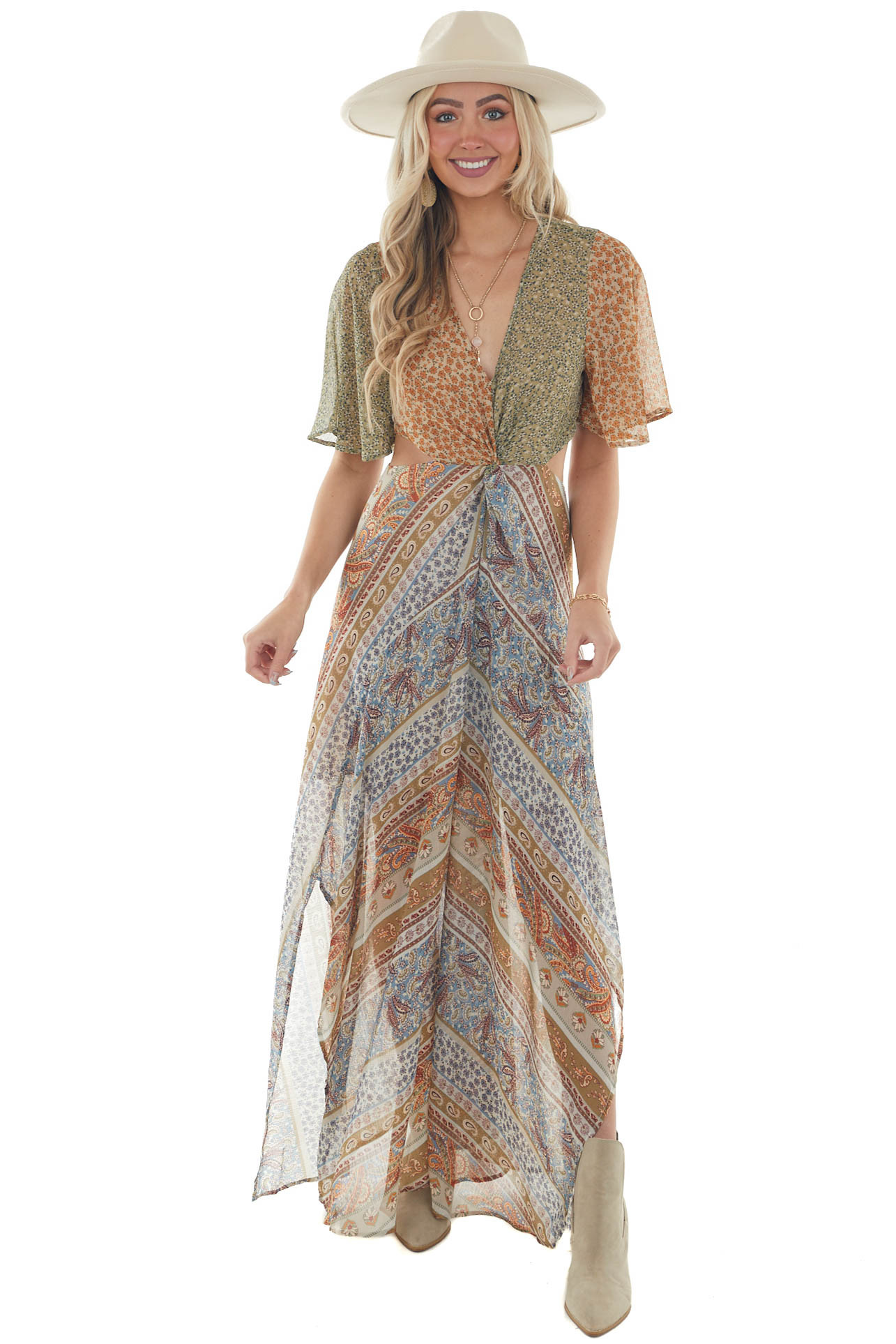 Willow Floral Paisley Side Cut Out Maxi Dress
