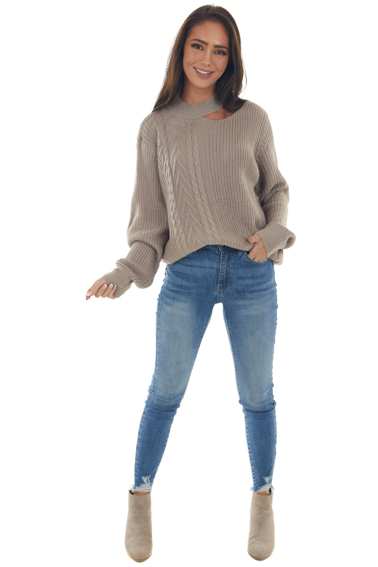 Taupe Grey Mock Neck Cut Out Detail Sweater
