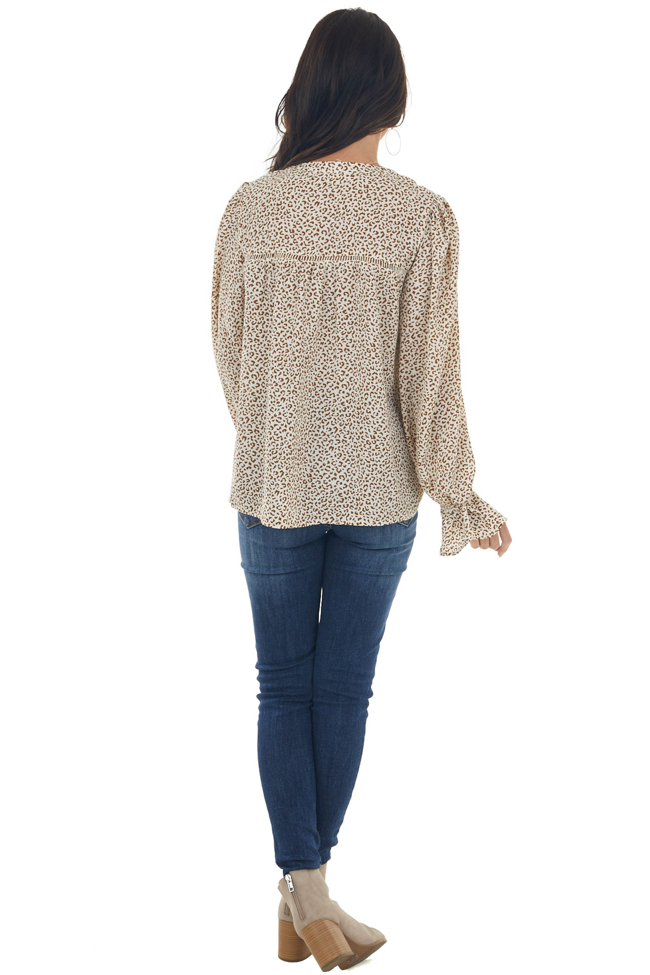 Champagne and Sepia Leopard Long Sleeve Top