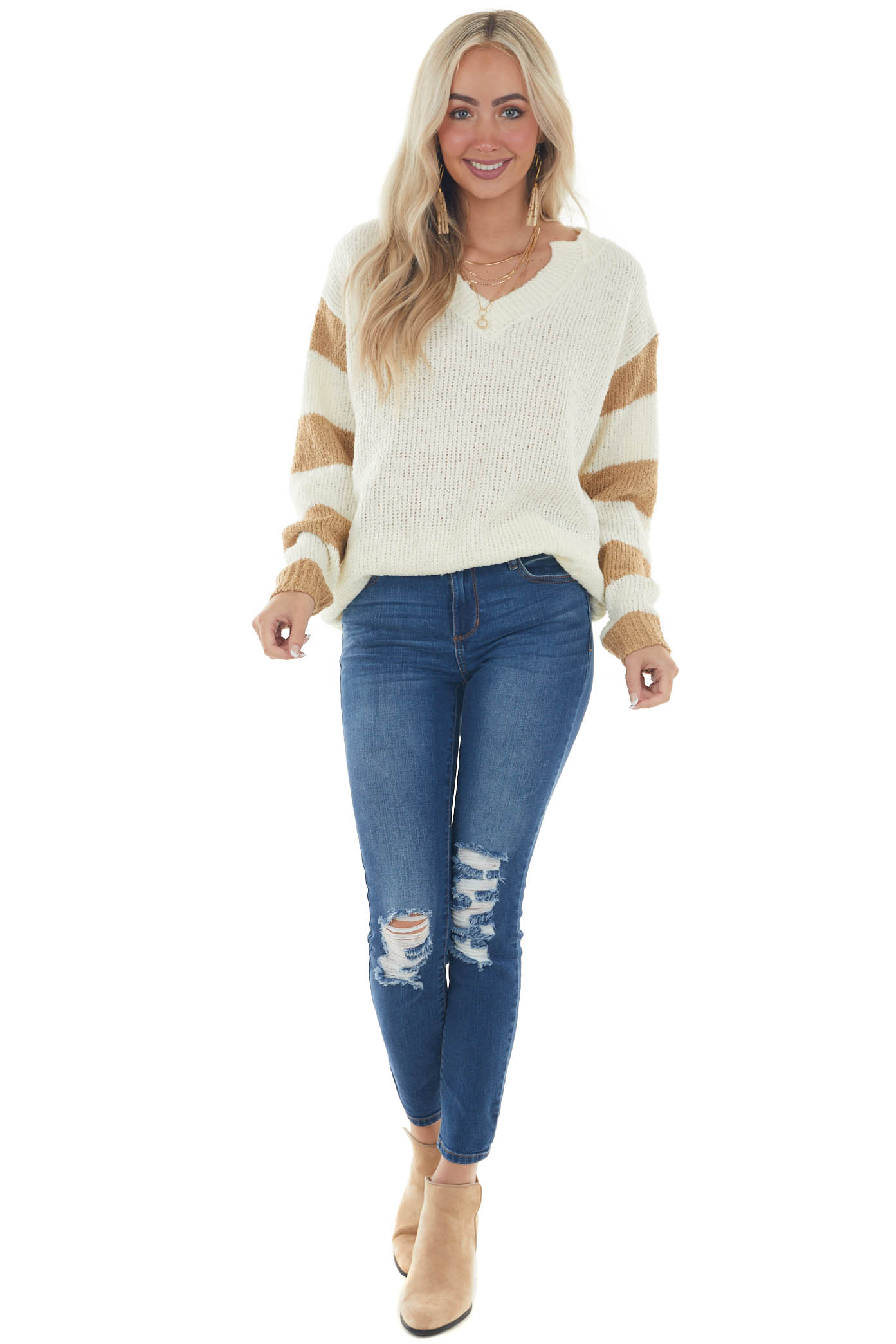 Cream and Camel Loose Knit V Neck Sweater