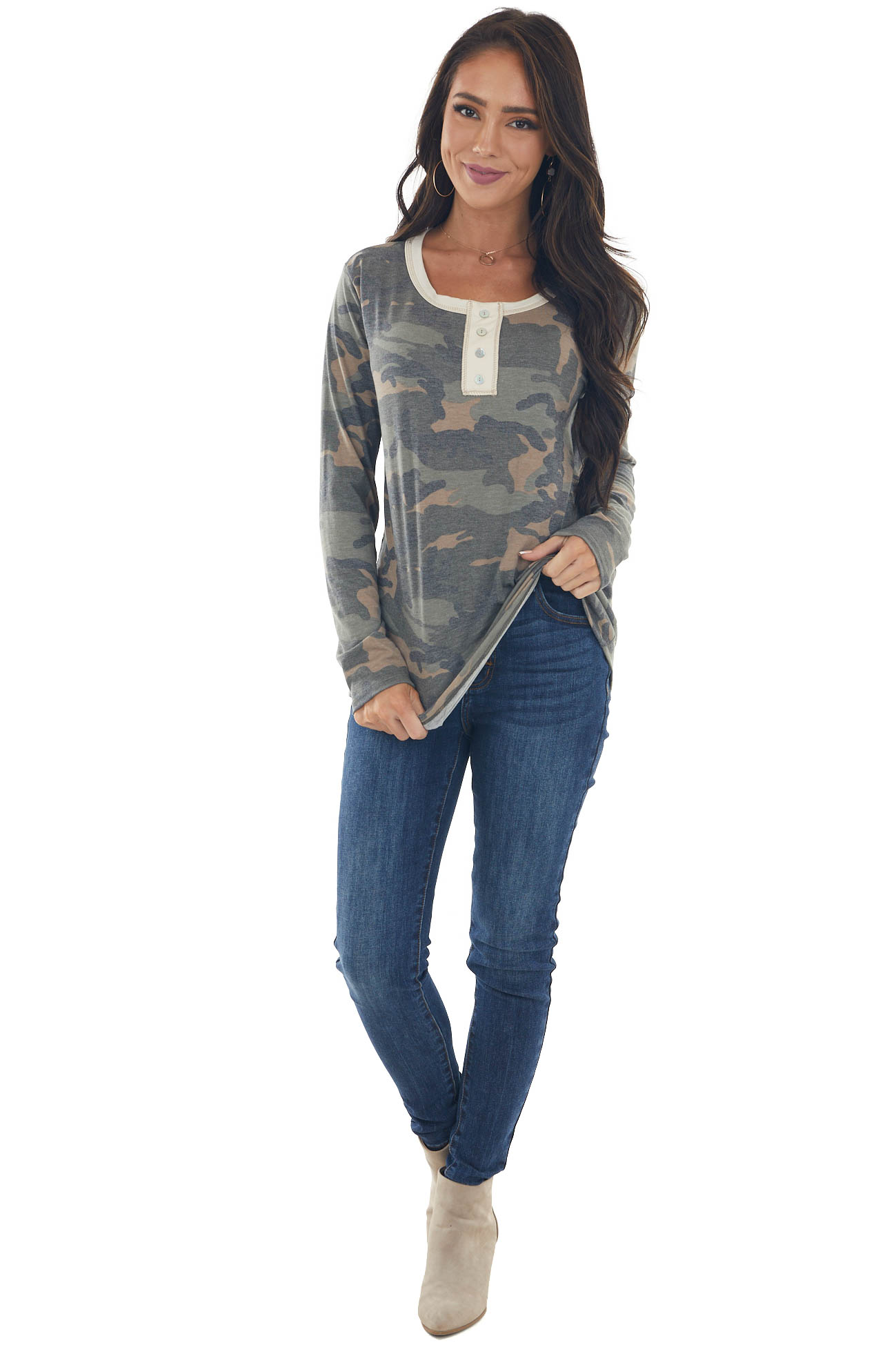 Faded Sage Camo Long Sleeve Henley Knit Top