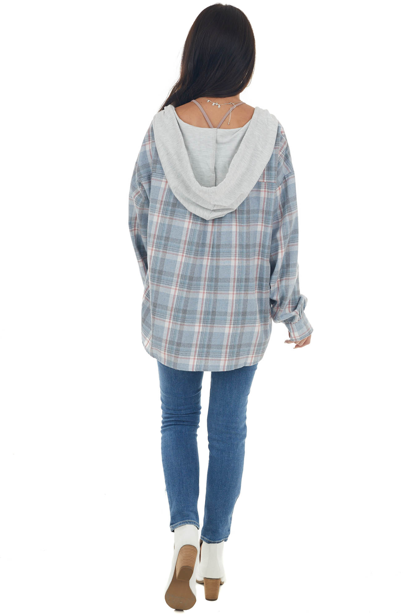 Dusty Blue Plaid Hooded Button Up Shirt Jacket
