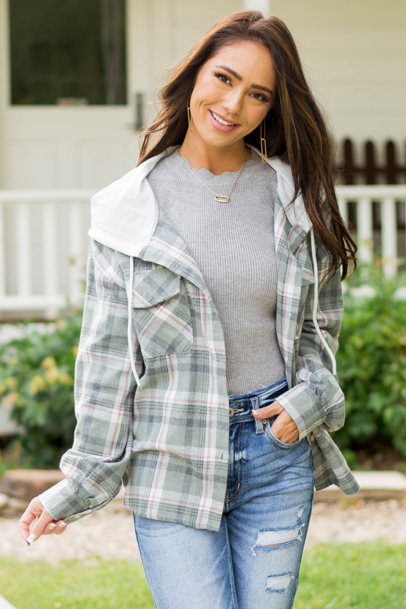Willow Plaid Hooded Button Up Shirt Jacket