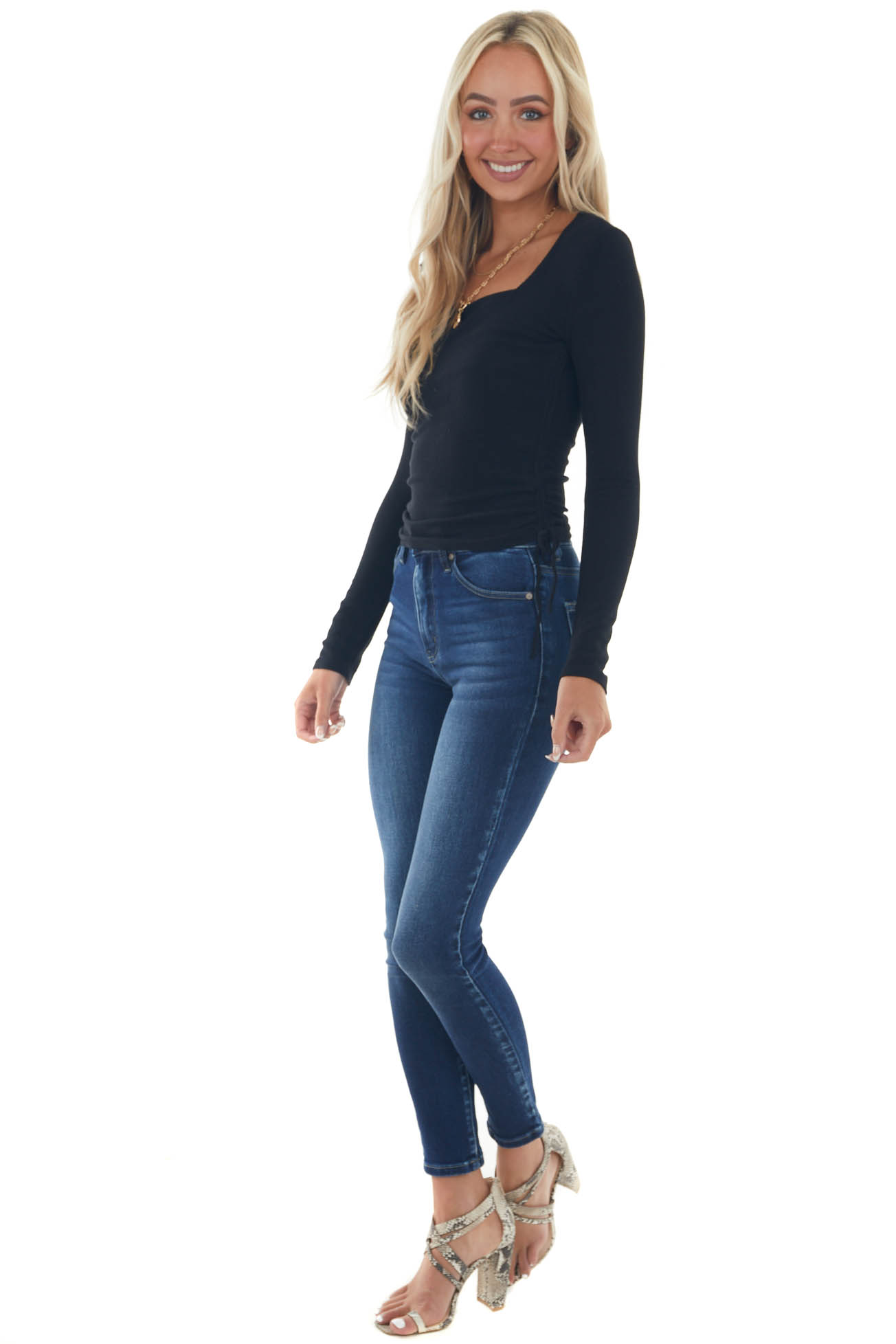 Black Fitted Ribbed Knit Top with Side Ruching
