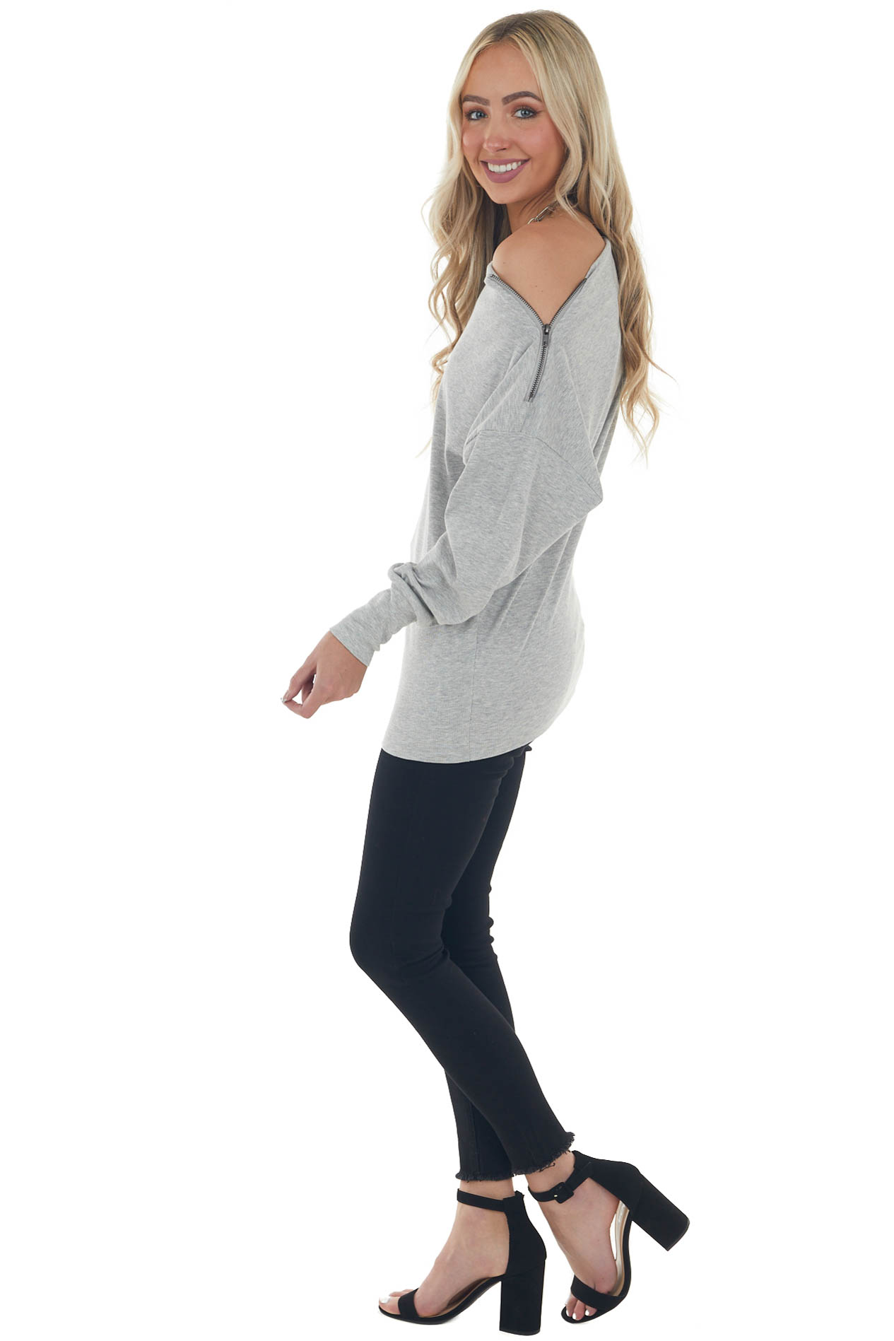 Dove Grey Off Shoulder Ribbed Knit Top with Zipper Detail