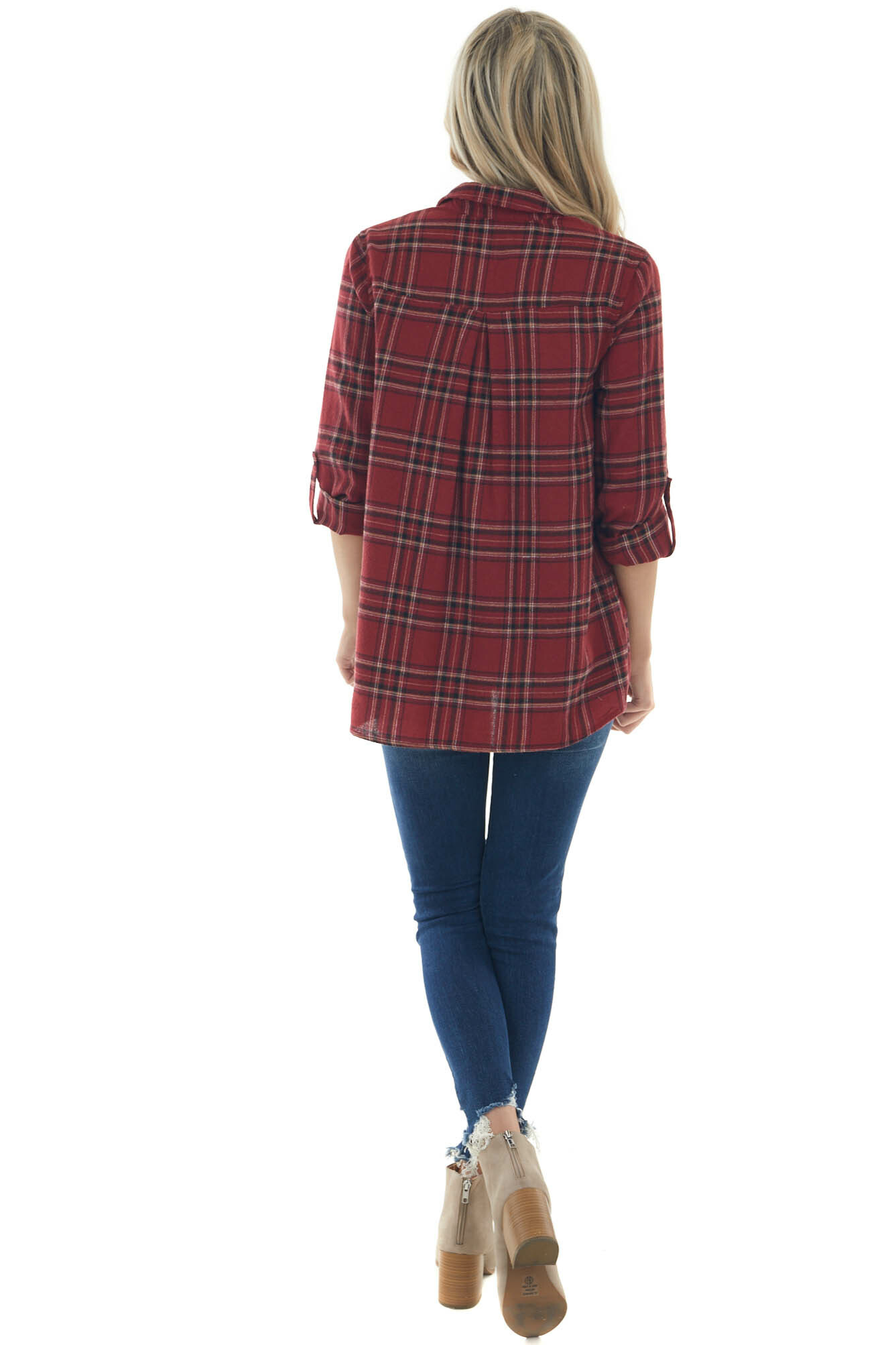 Maroon Plaid Collared Button Up Shirt