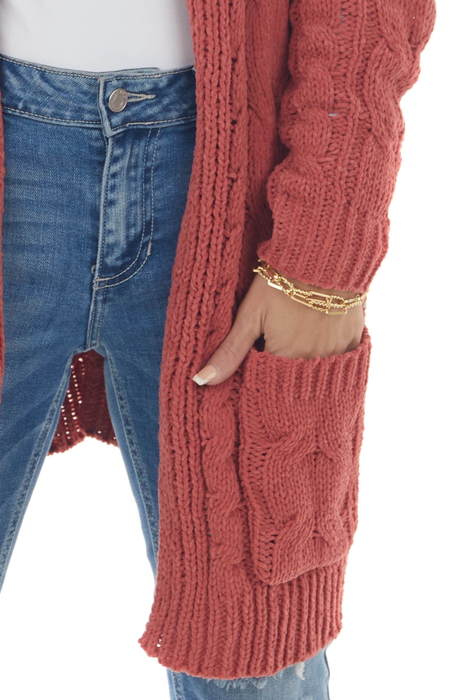 Terracotta Long Sleeve Cable Knit Cardigan