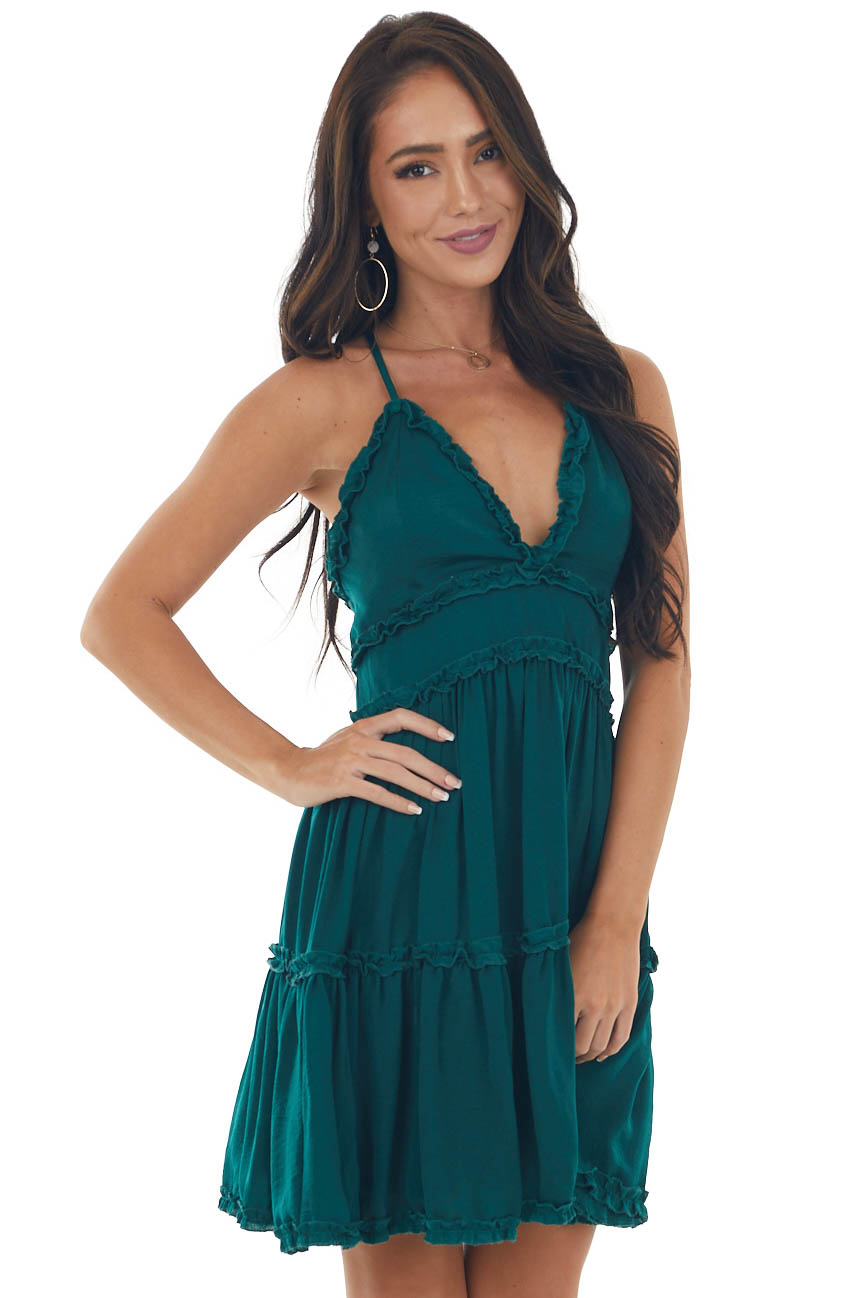 Forest Sleeveless Tiered Frilled Satin Dress