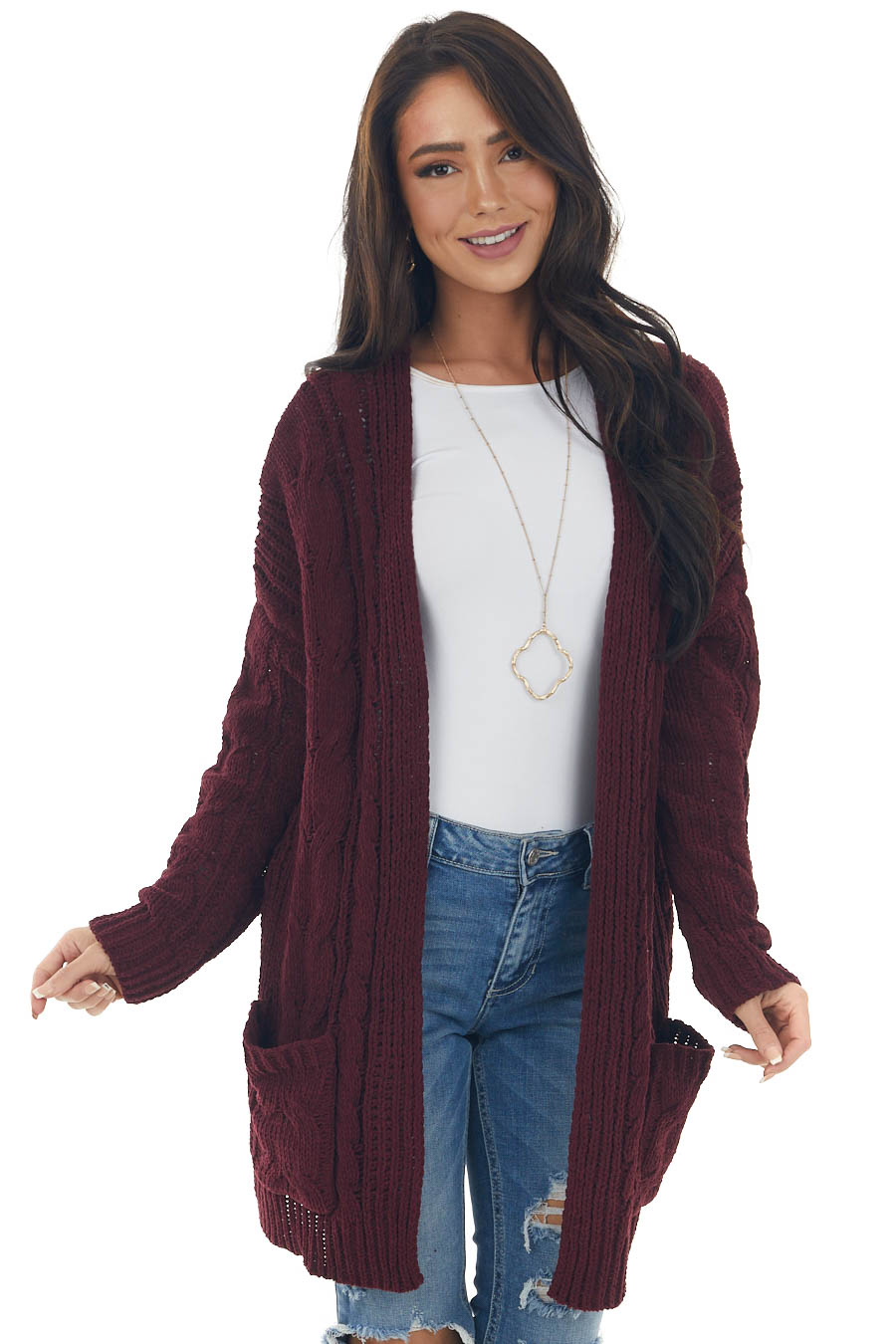 Wine Long Sleeve Cable Knit Cardigan
