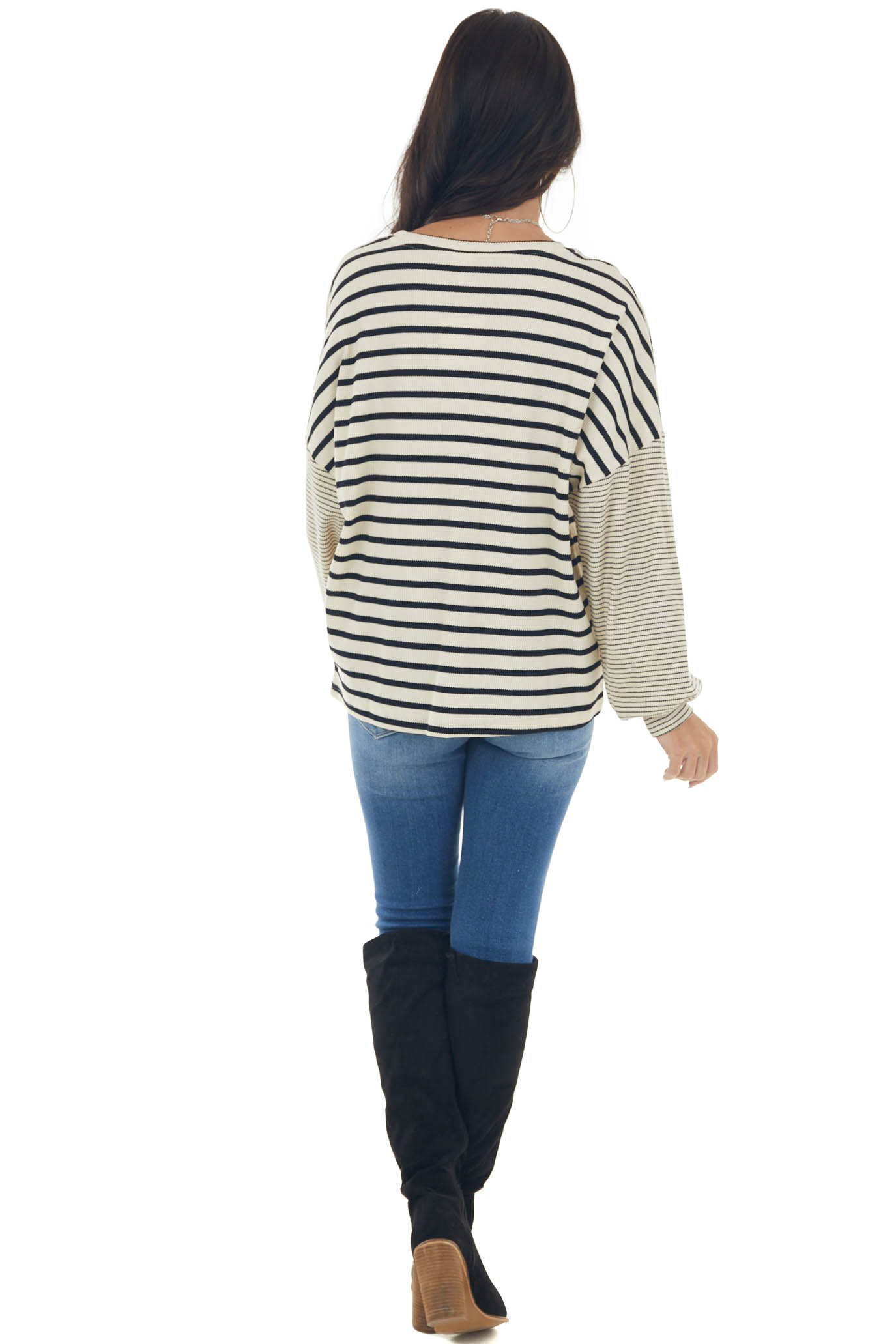 Beige and Black Striped Bubble Sleeve Knit Top