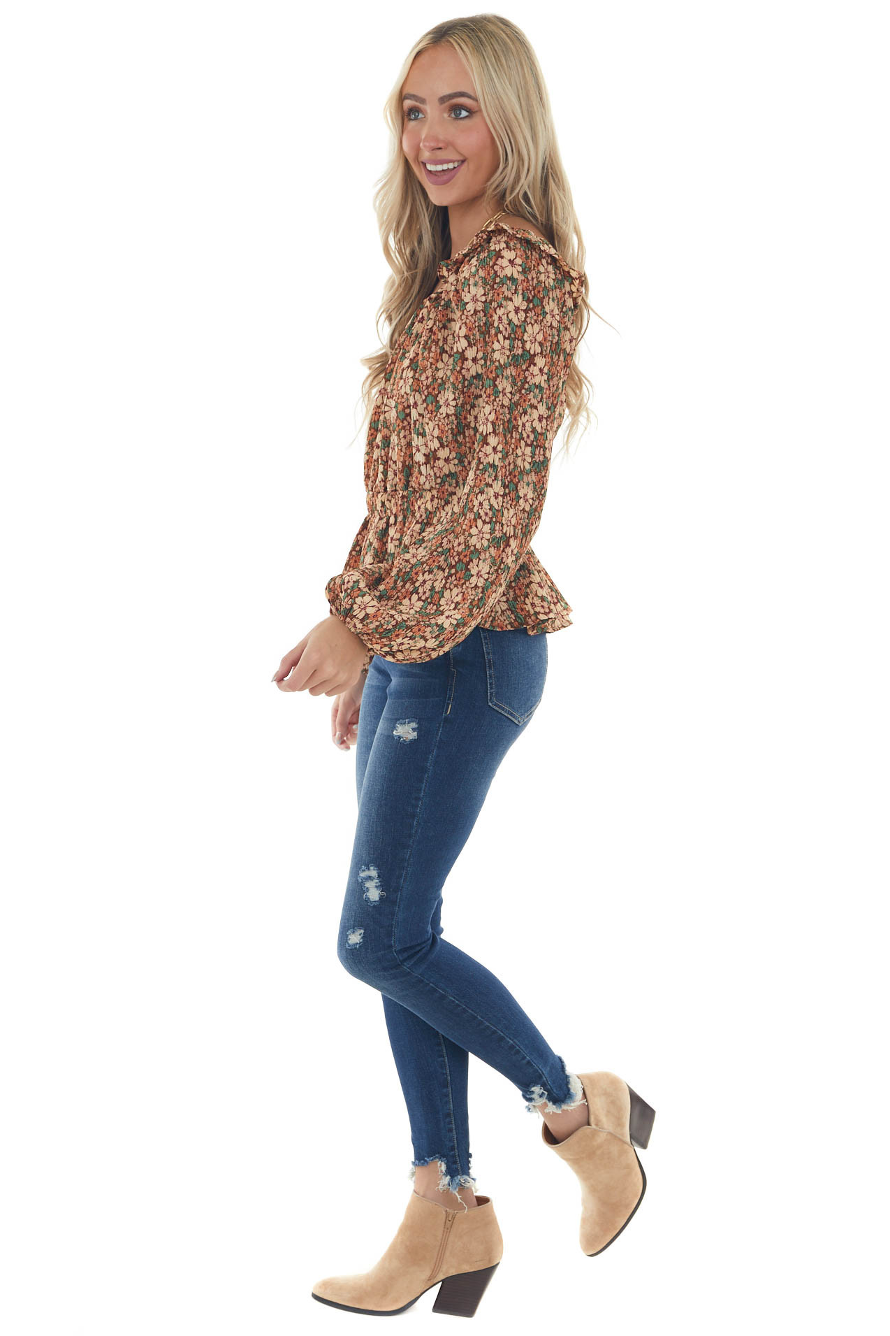 Sepia Floral Print Long Sleeve Pleated Blouse