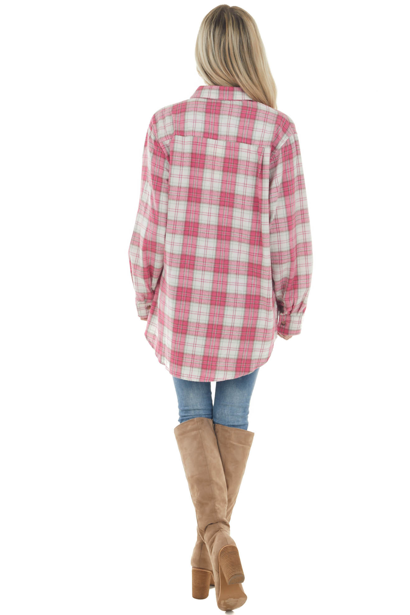 Bright Pink Plaid Single Chest Pocket Flannel