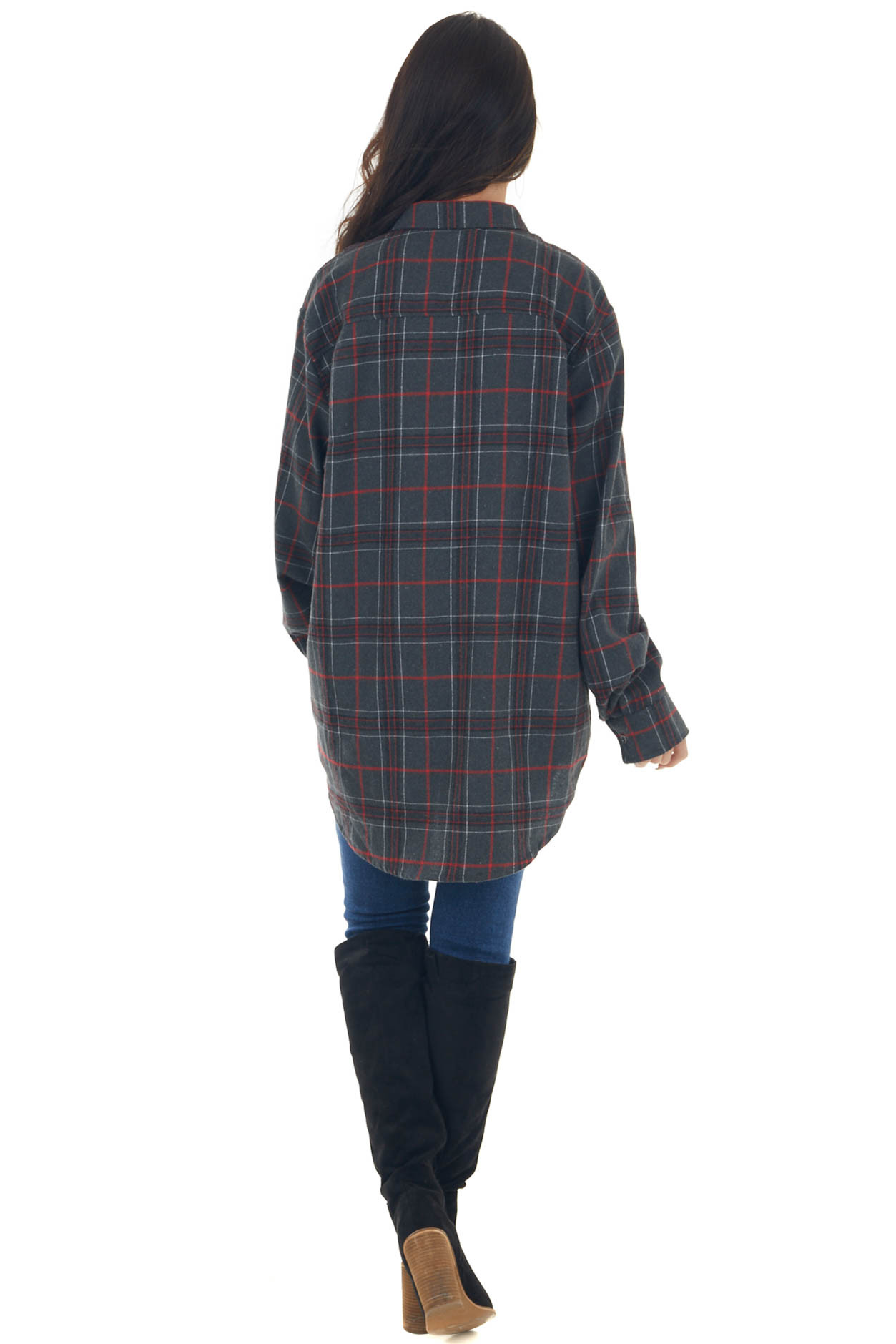 Charcoal Plaid Oversized Rounded Hem Flannel